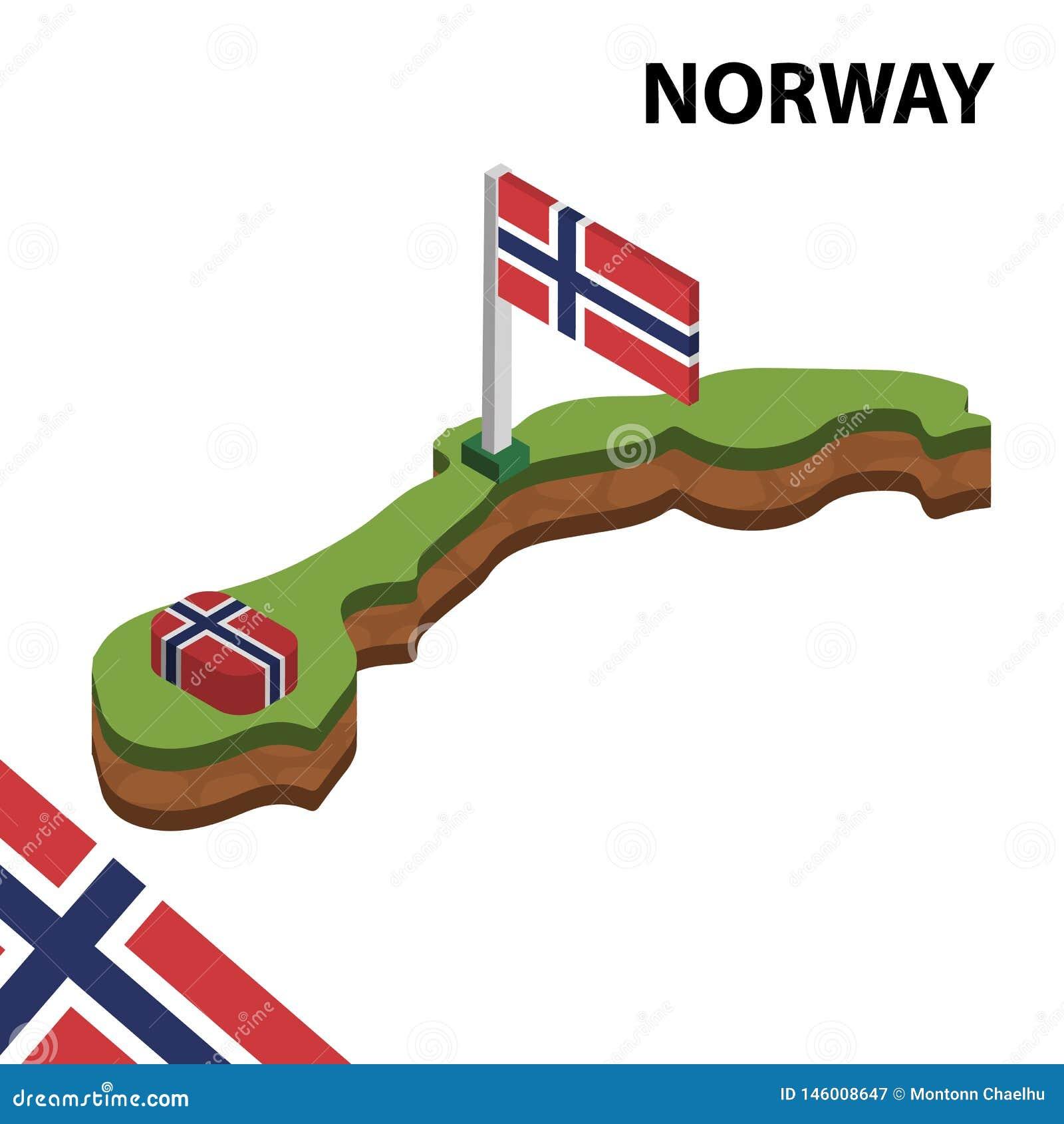 Informatie grafische Isometrische kaart en vlag van NOORWEGEN 3d isometrische vectorillustratie
