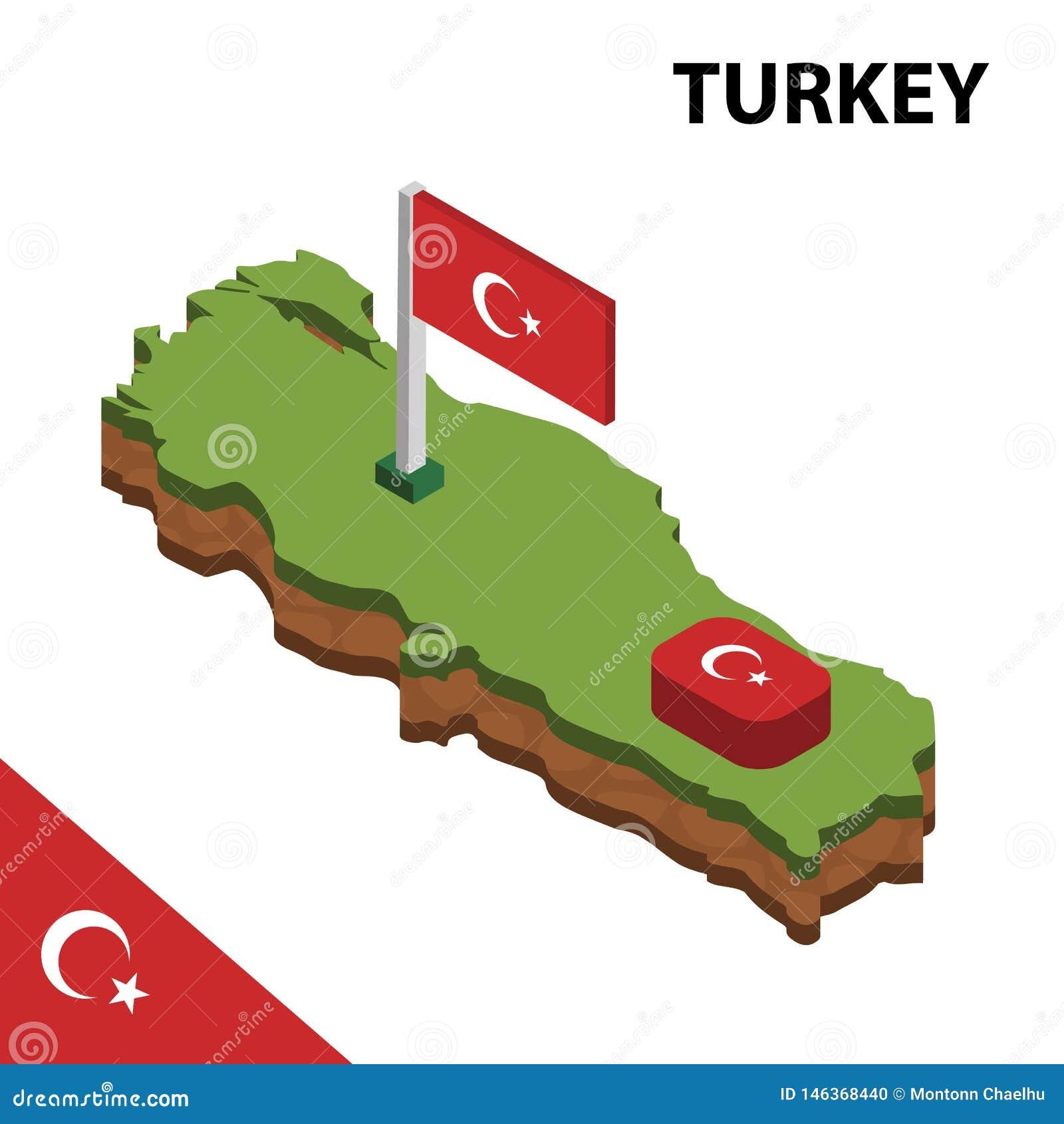 Informatie grafische Isometrische kaart en vlag van TURKIJE 3d isometrische vectorillustratie