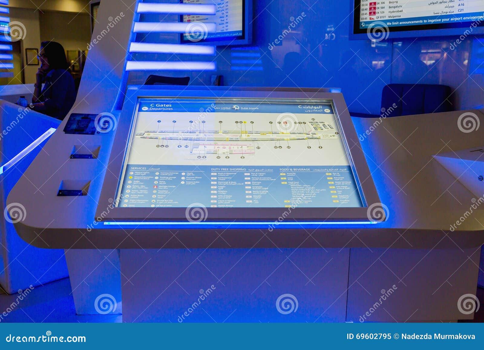 Informatiecentrum in Dubai International-Luchthaven, de V.A.E Het is de wereld grootste bouw door vloerruimte en wereldlar