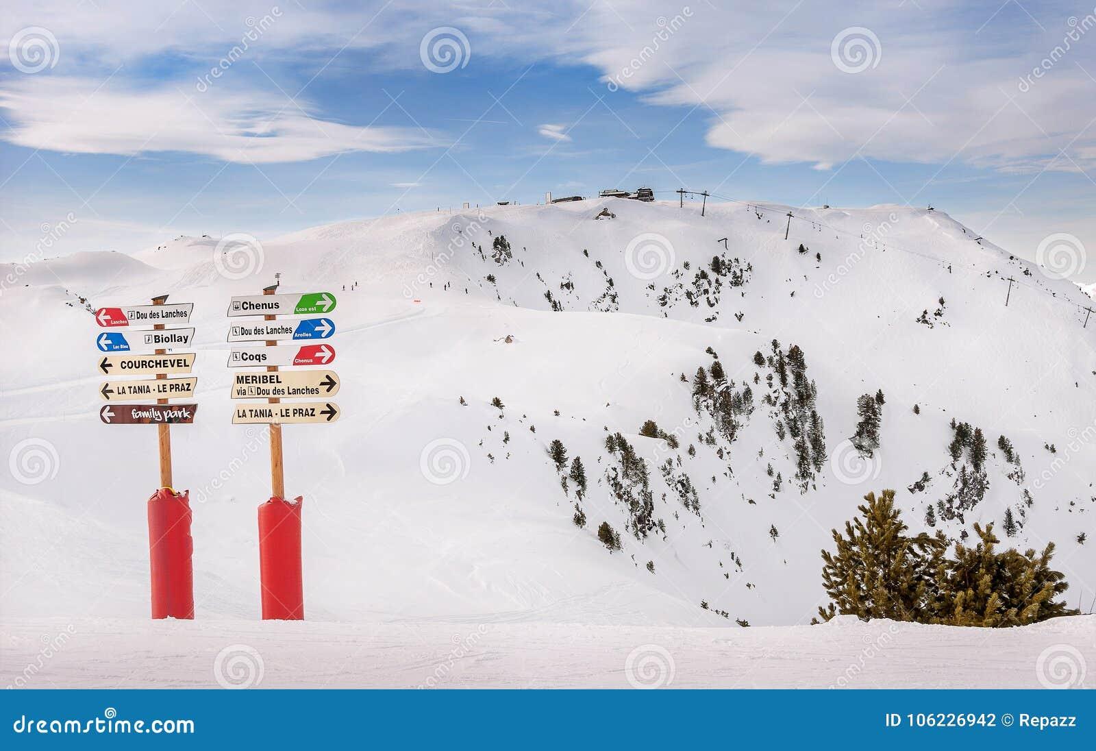 Informatietekens in Ski Resort