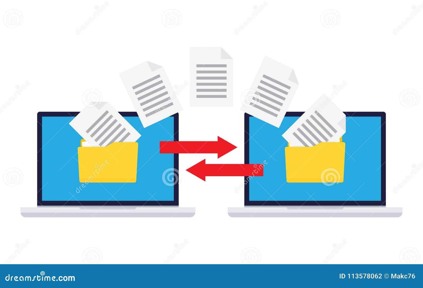 Information Exchange Between Computers. Stock Vector - Illustration