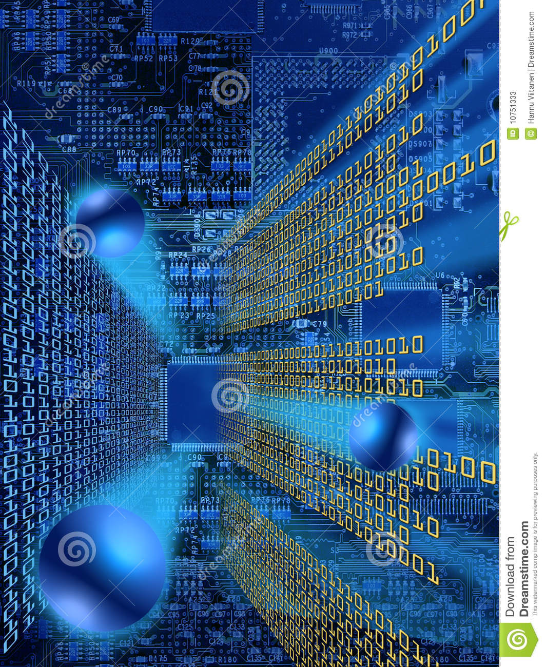 Information Explosion Stock Illustration Of Background Or Photo Computer Electronic Circuit Cpu Board Breaking Binary Code Bursting From Processors In