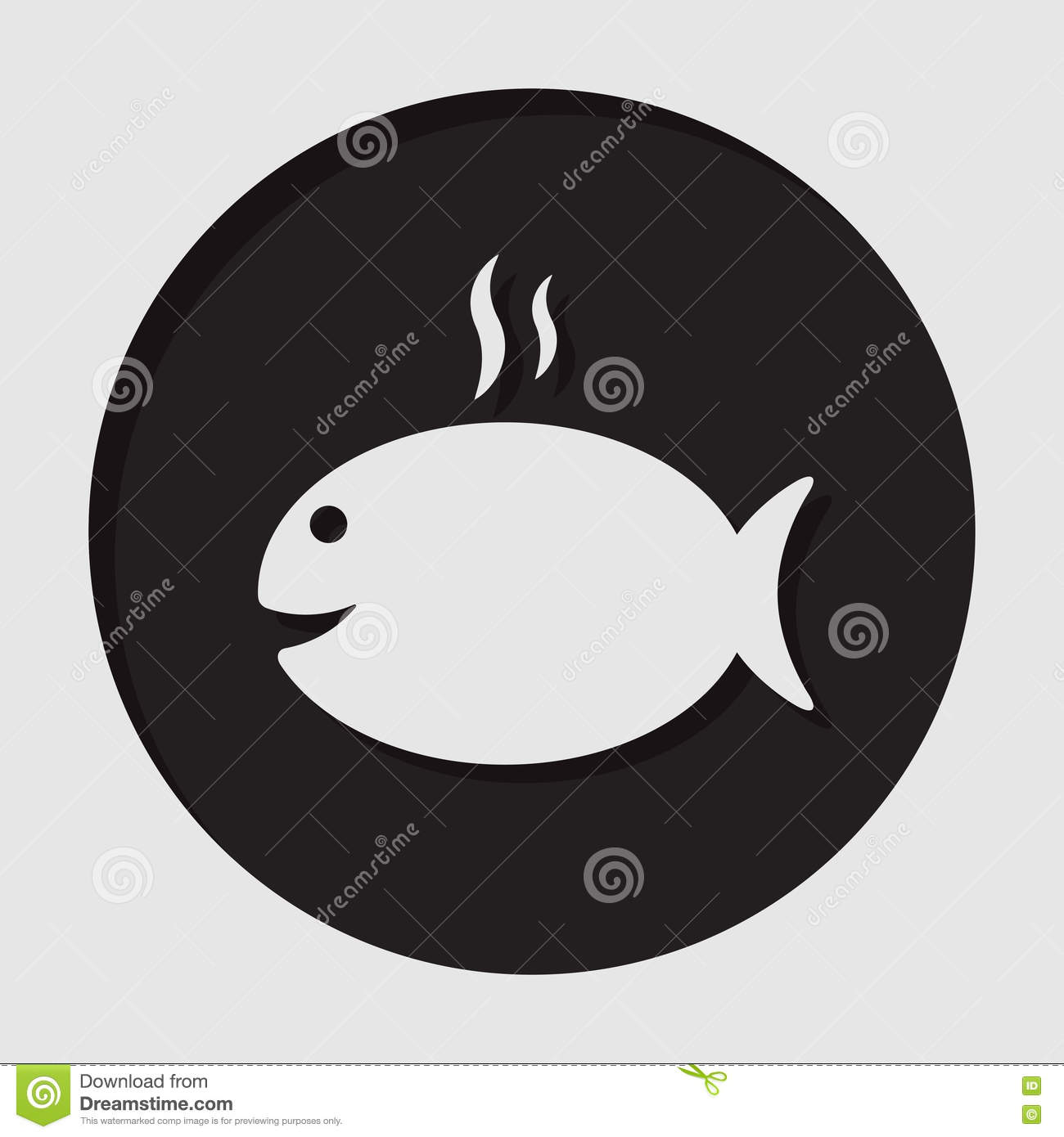 Information icon - grilling fish with smoke