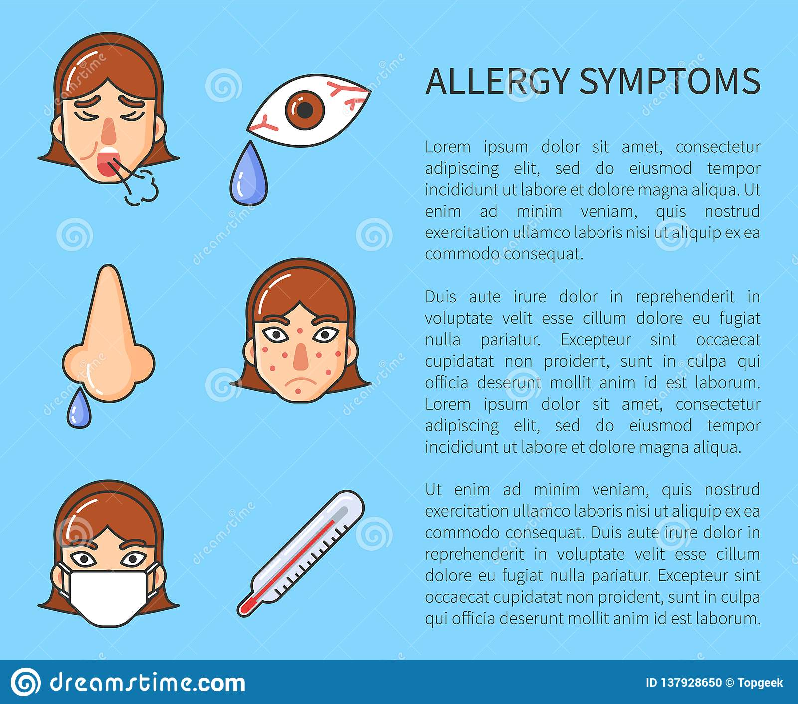 Information Poster Of Allergy Symptoms Vector Stock Vector