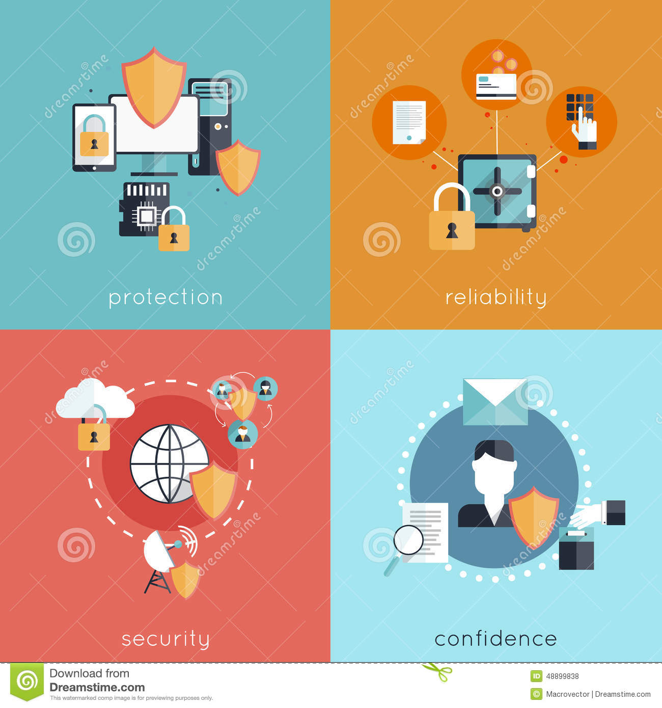 Stock Illustration Information Security Flat Design Concept Set Protection Reliability Confidence Icons Isolated Vector Image48899838 on 56