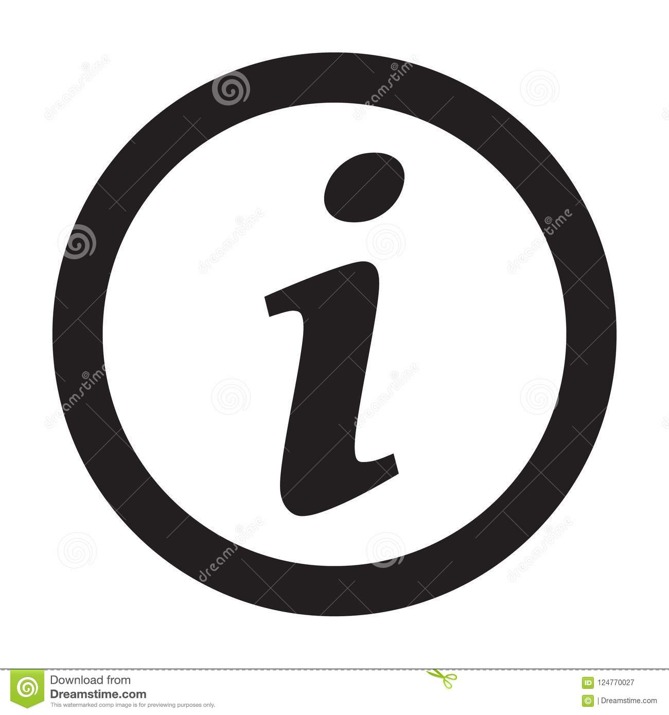 Information sign icon, info icon, letter i