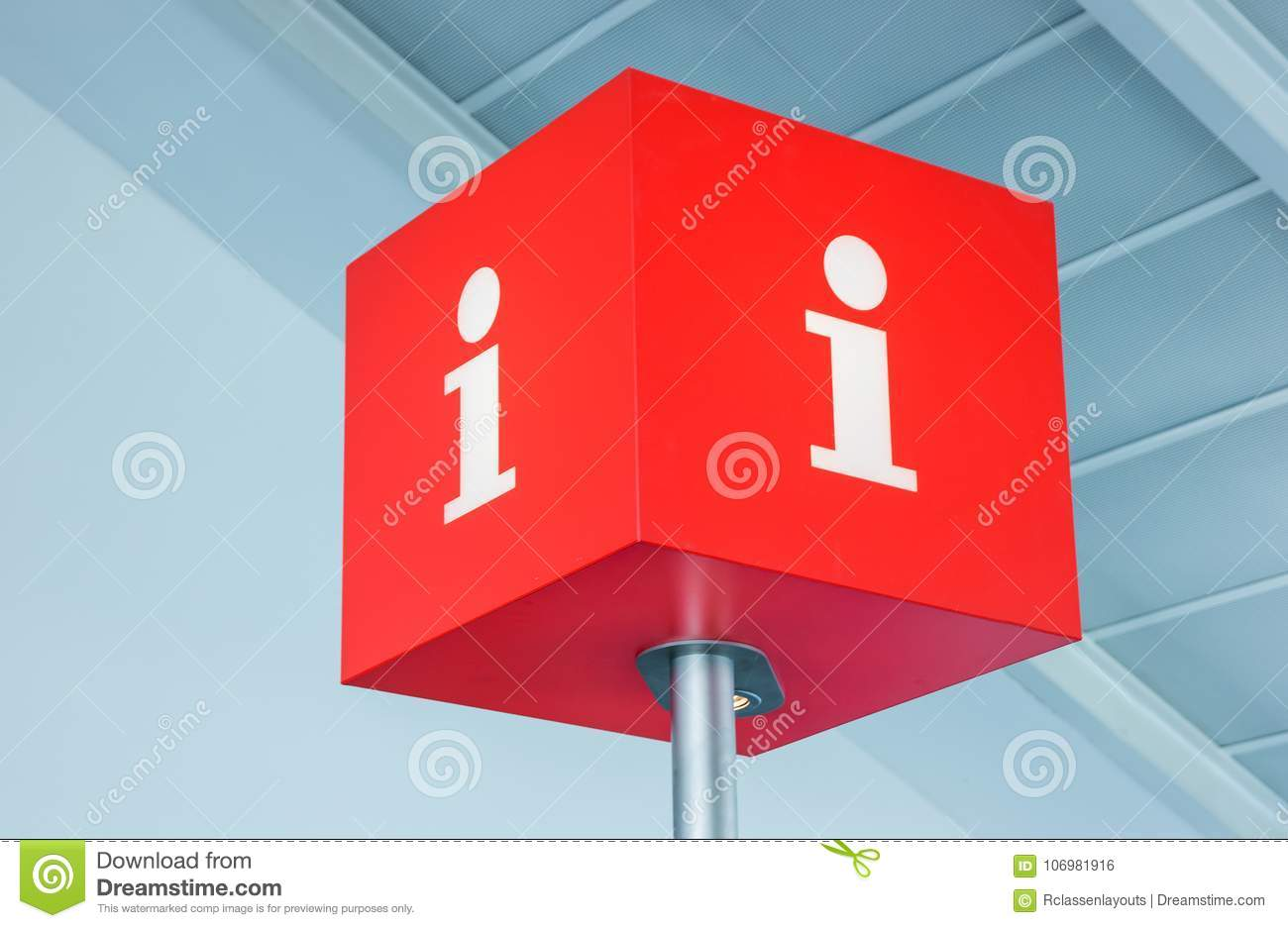 info sign inside an airport stock photo image of cube hotline
