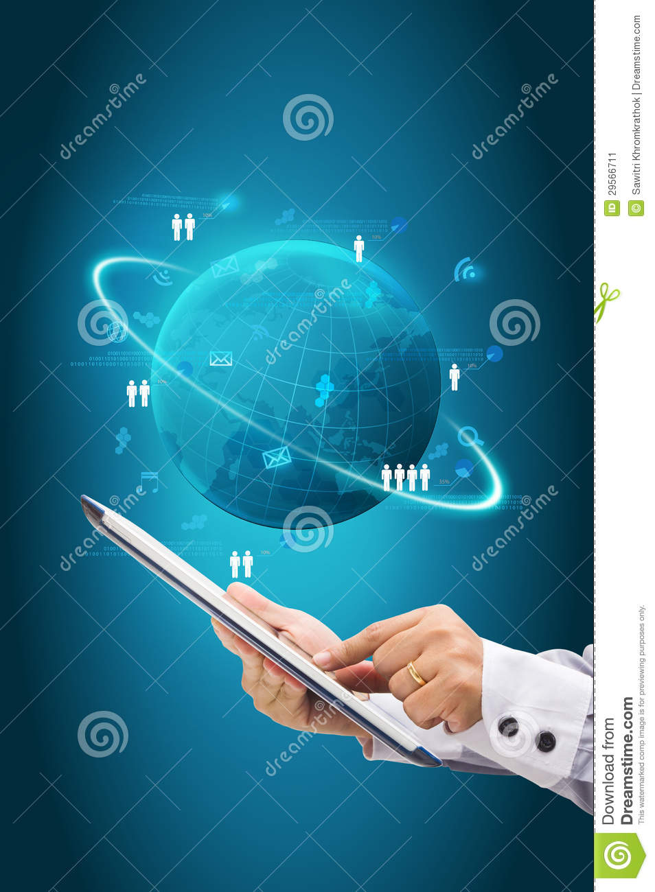 Information Technology Business Concept  Network Process Diagram Stock Illustration