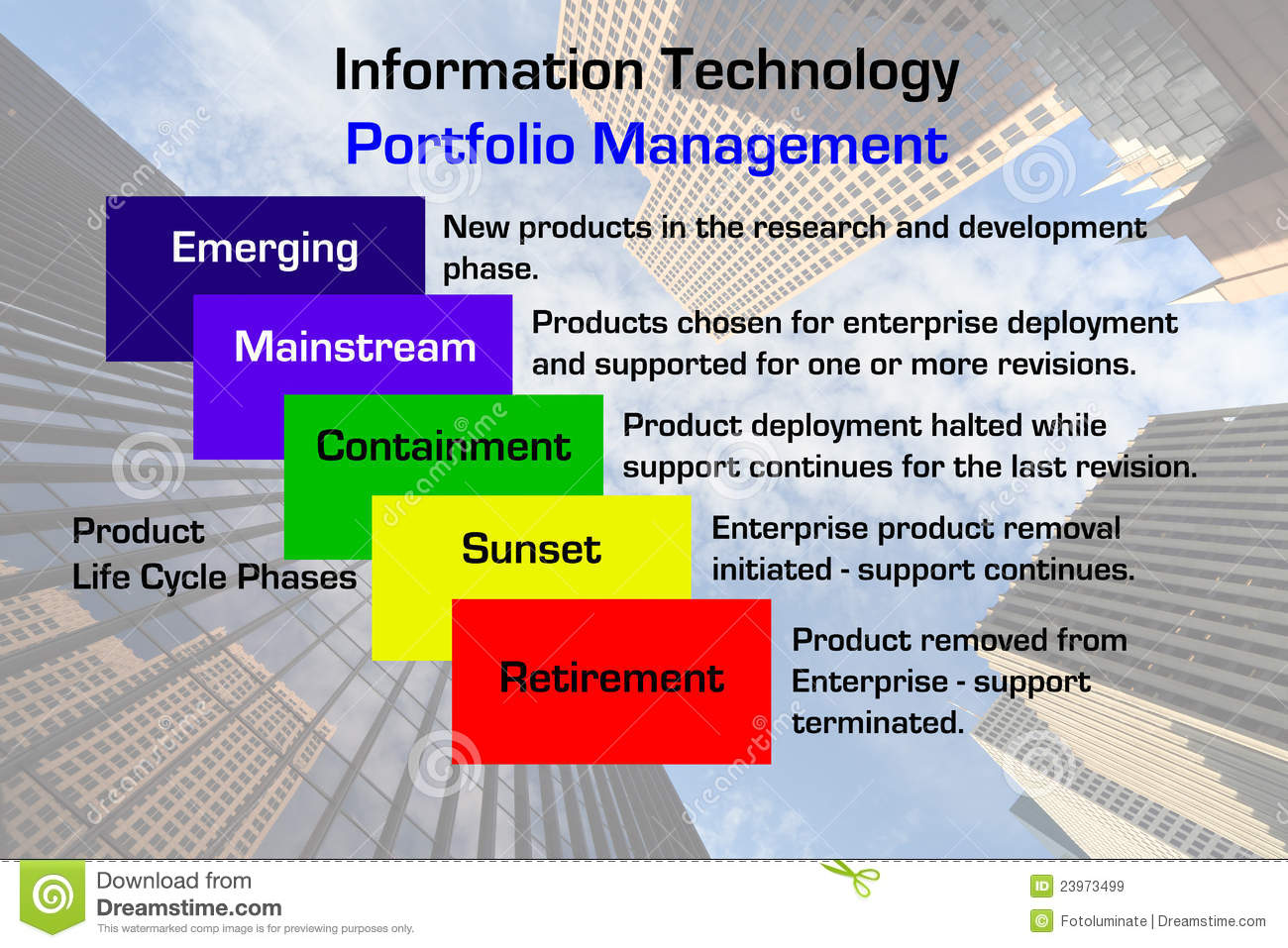 Diagram of a information technology portfolio management methodology