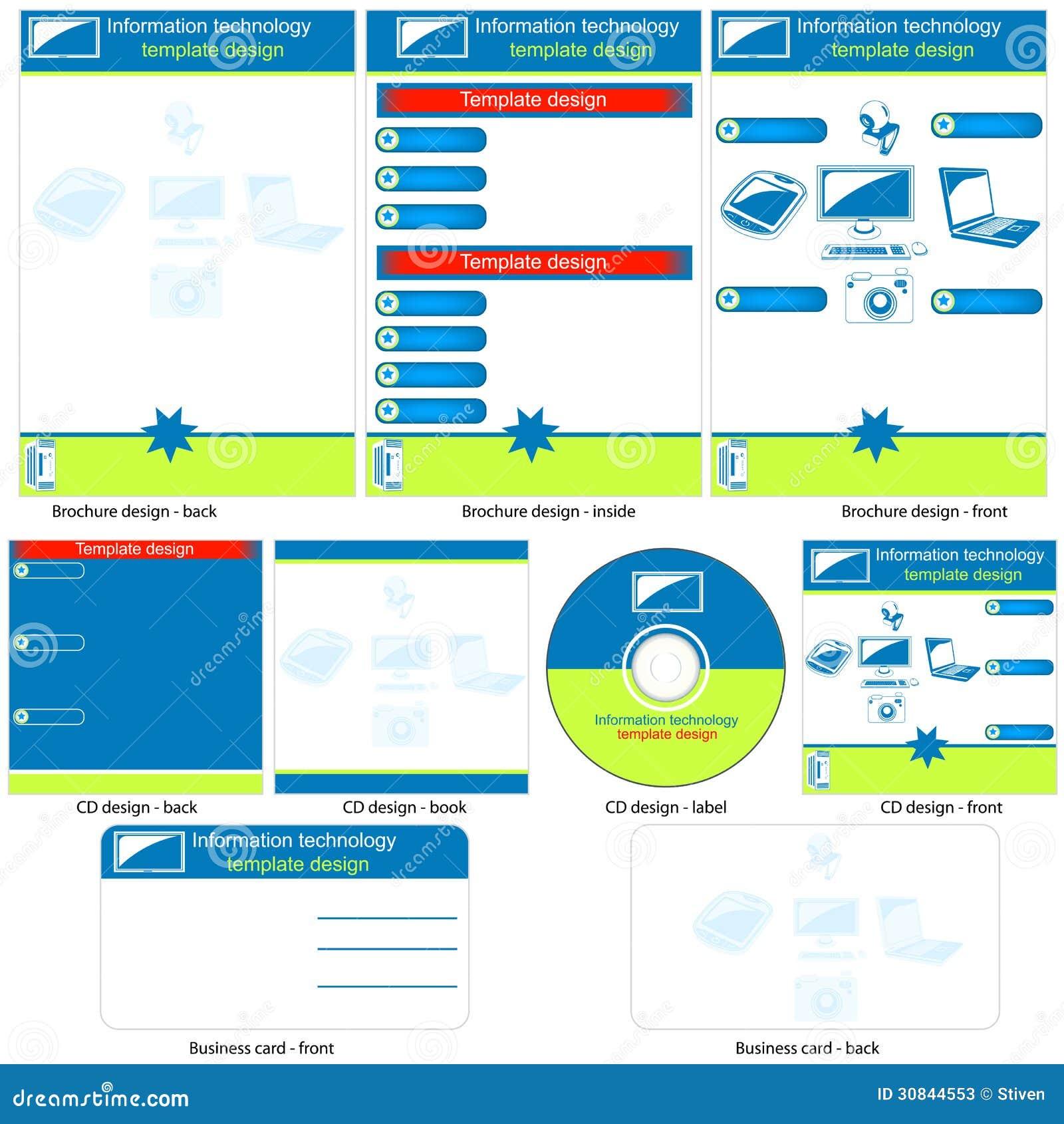technology brochure template - information technology template stock vector