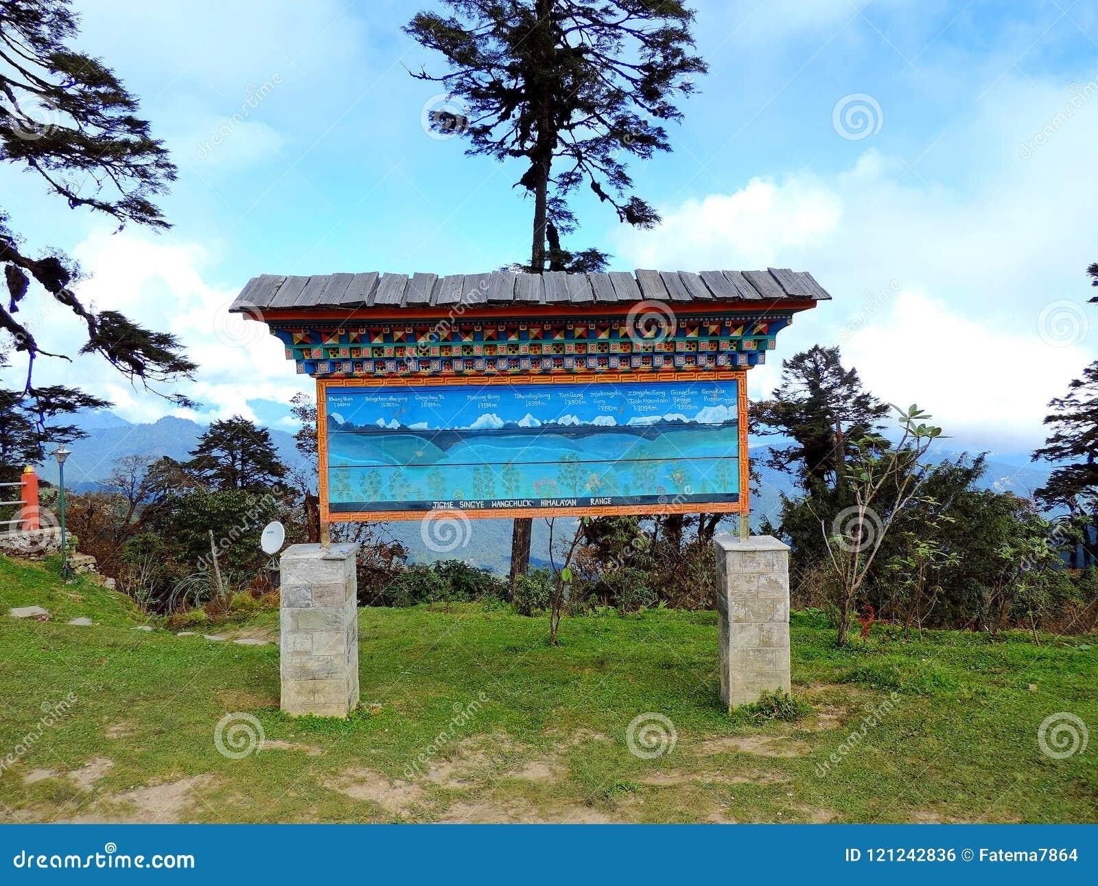 Informationsbräde på restaurangen på det Dochula passerandet, Bhutan