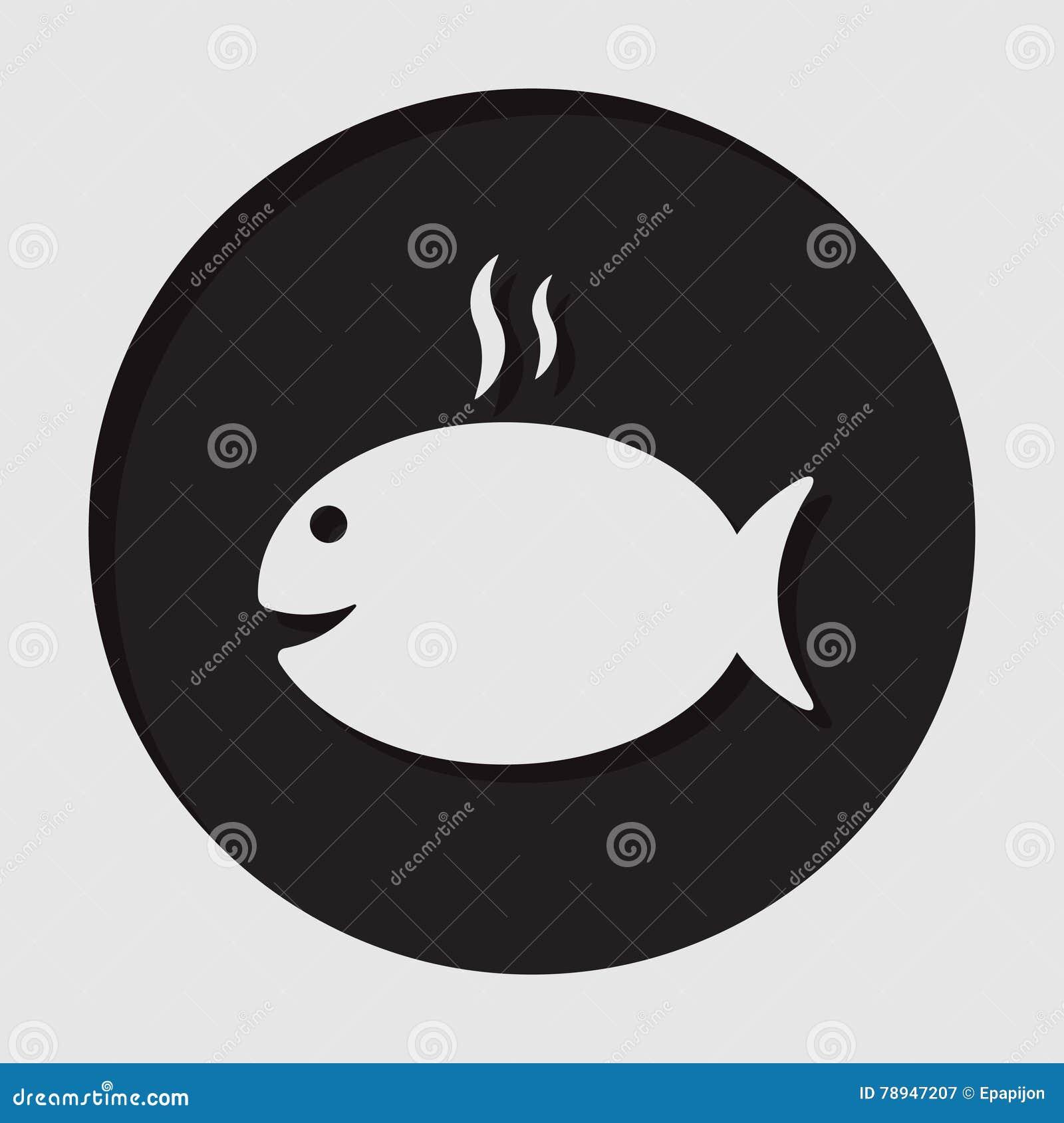 Informationssymbol - grilla fisken med rök