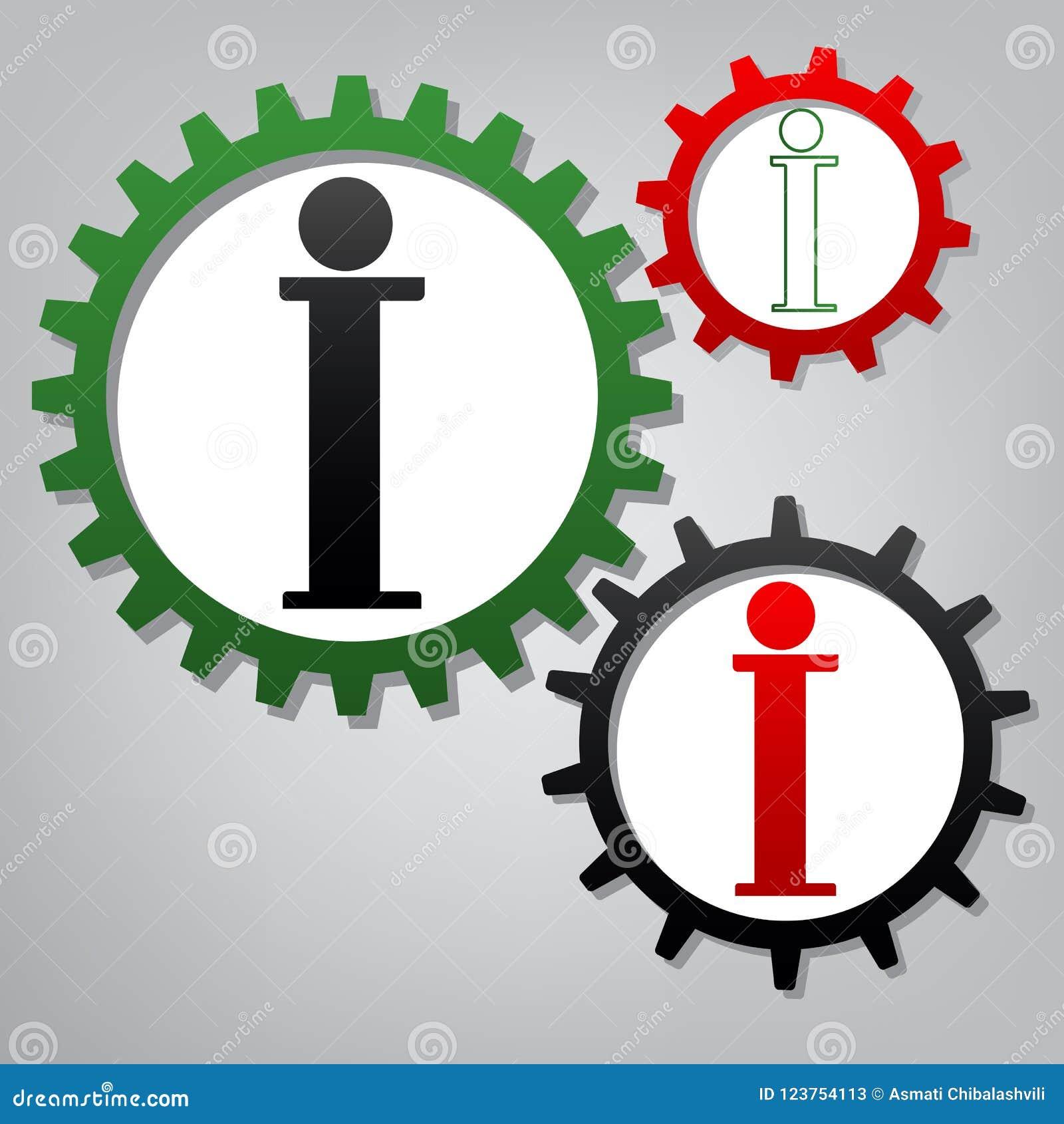 Informationstecken vektor Tre förbindelsekugghjul med symboler på gråaktigt b