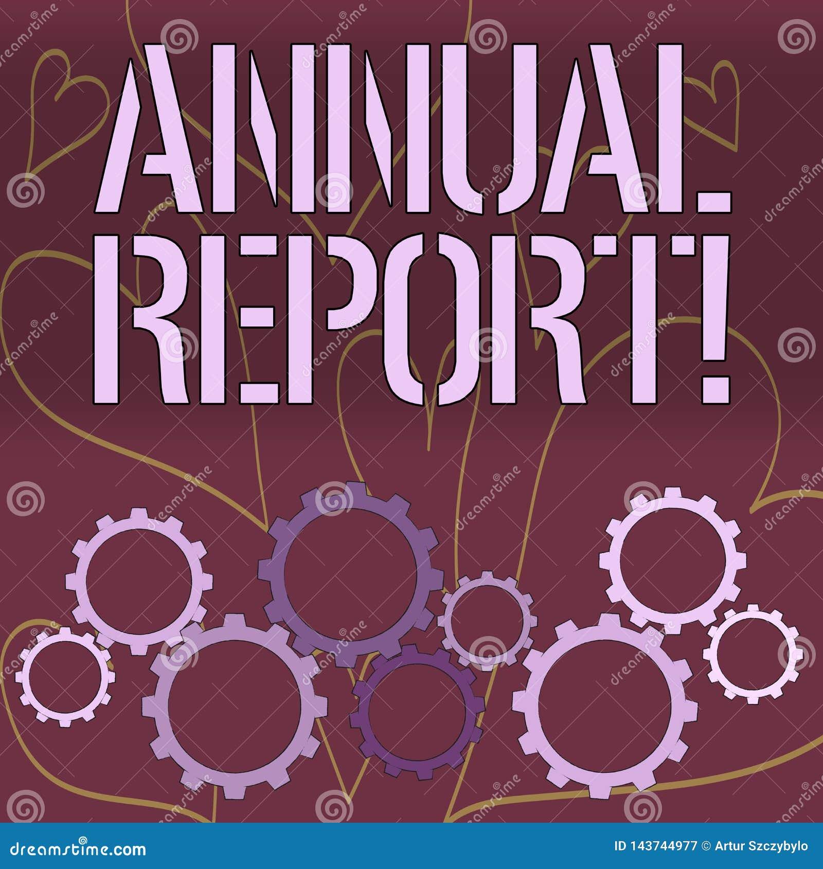 Informe anual del texto de la escritura de la palabra El concepto del negocio para incluye la información sobre qué se han sabido