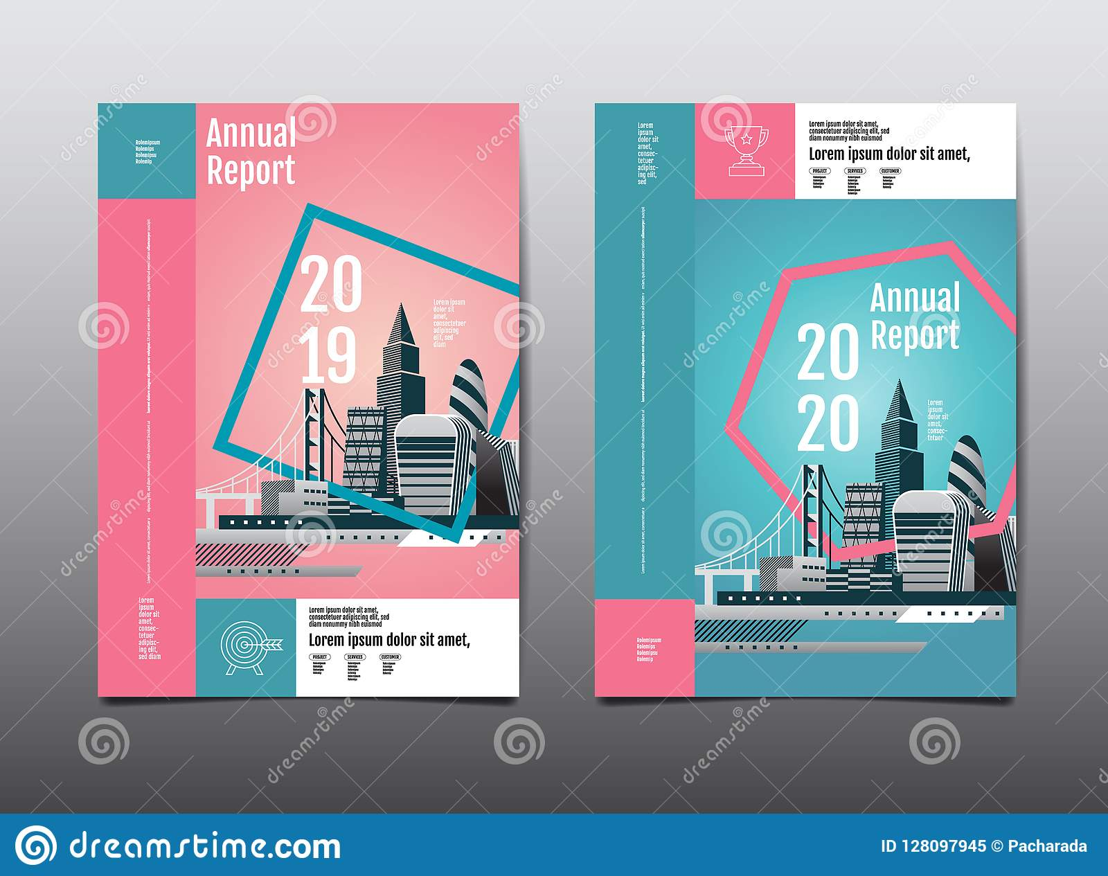 Informe anual 2019,2020, futuro, negocio, desig de la disposición de la plantilla
