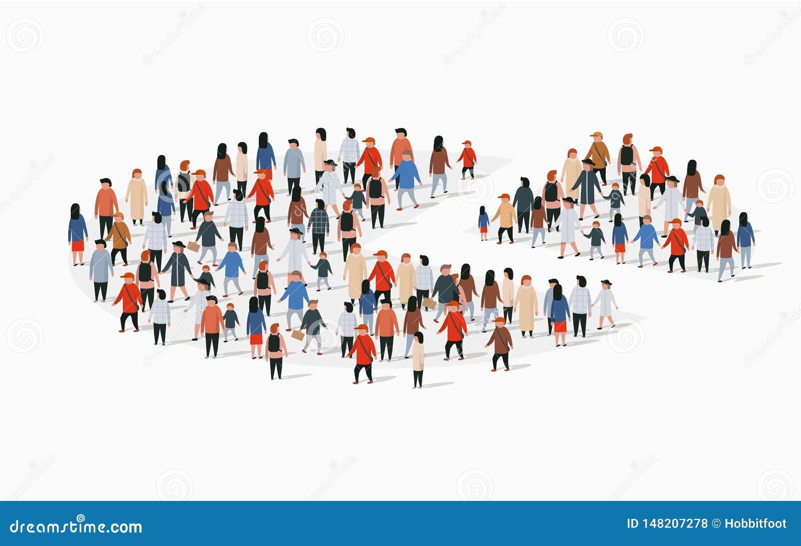 Informe del demographics de la población, gráfico de sectores integrado por gente