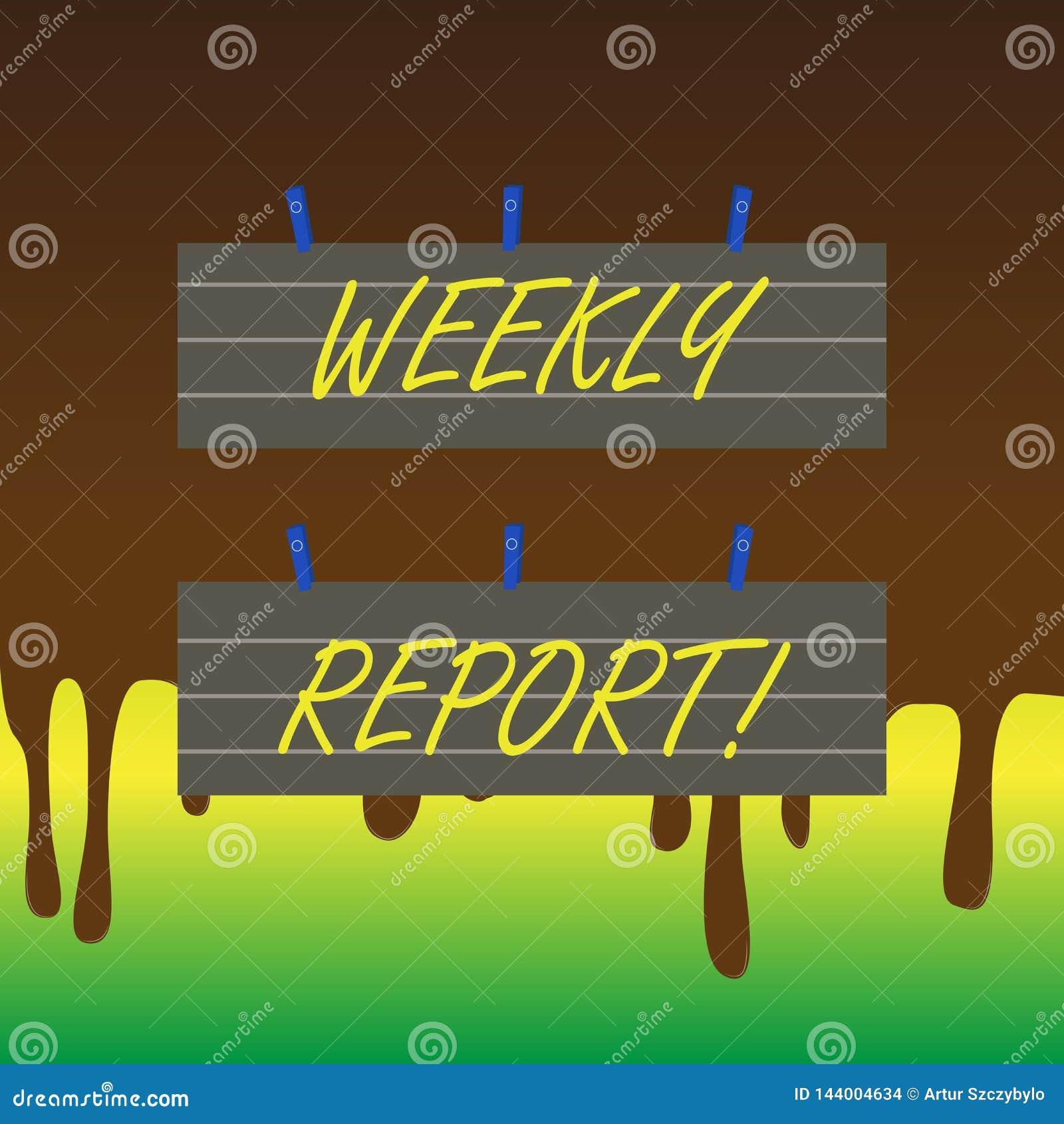 Informe semanal del texto de la escritura El significado del concepto incluye la información sobre qué se han convertido sabido d