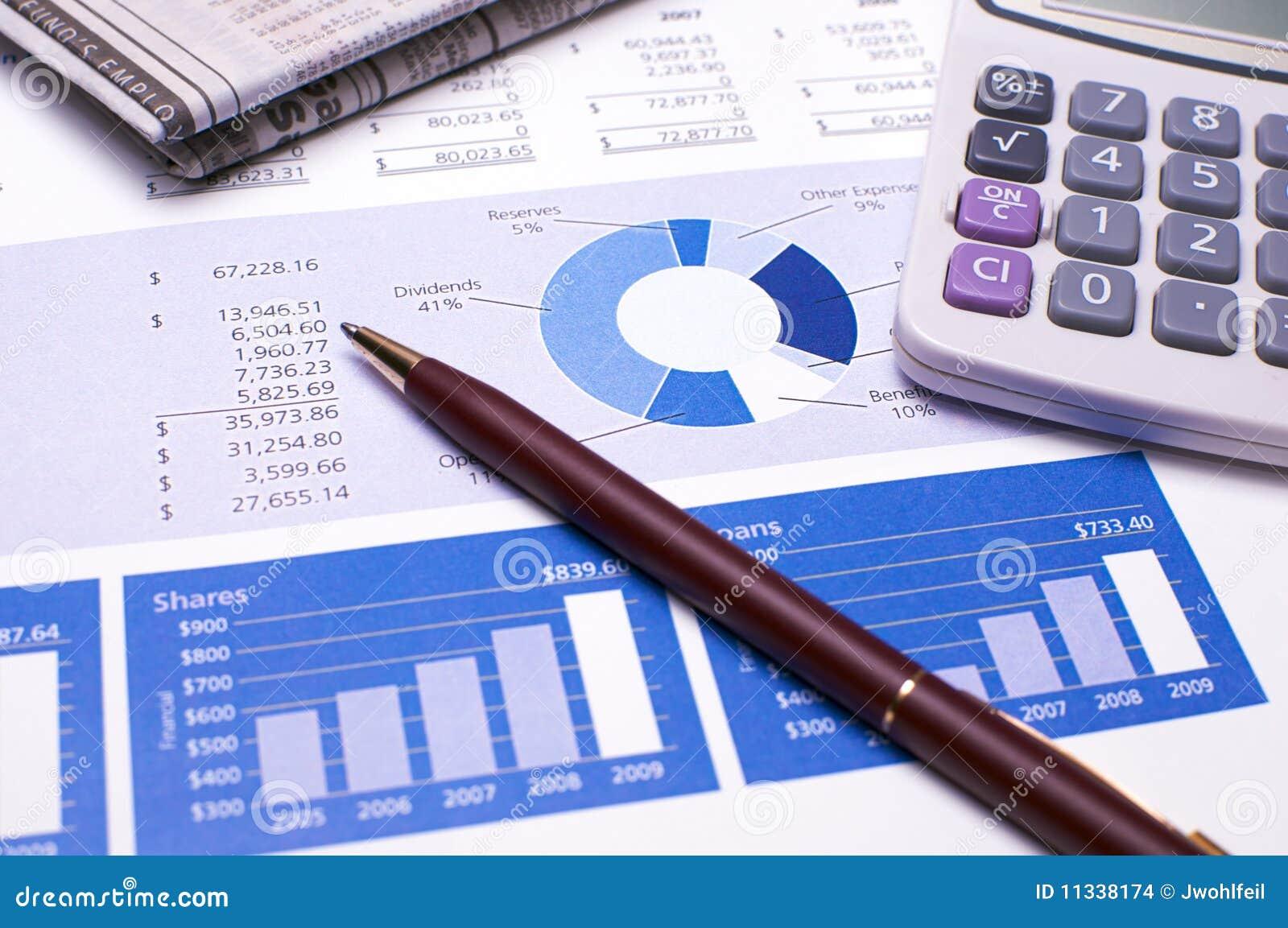 Informes del azul de la planificación financiera