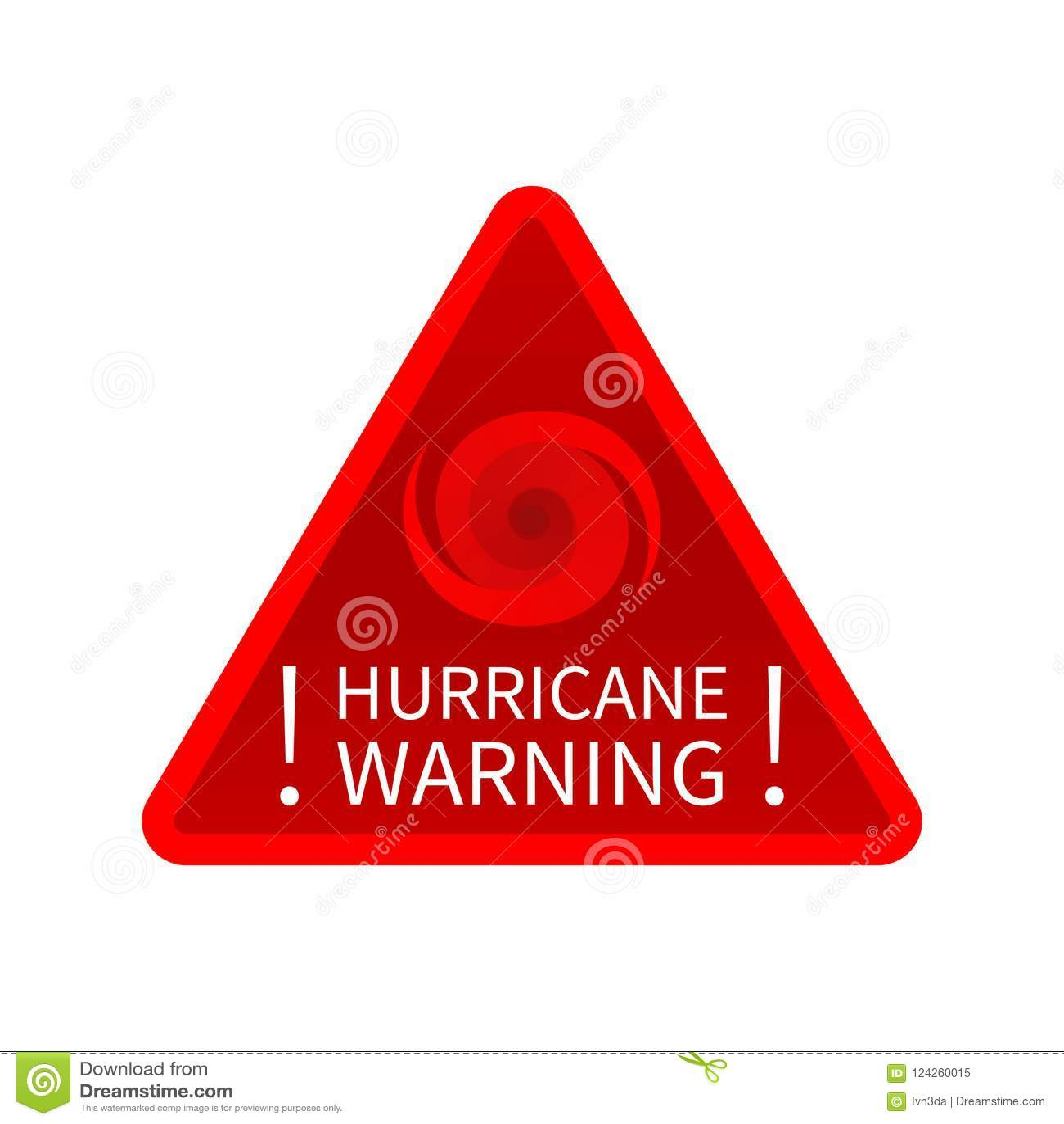 Informing Hurricane Warning Sign Stock Vector Illustration Of