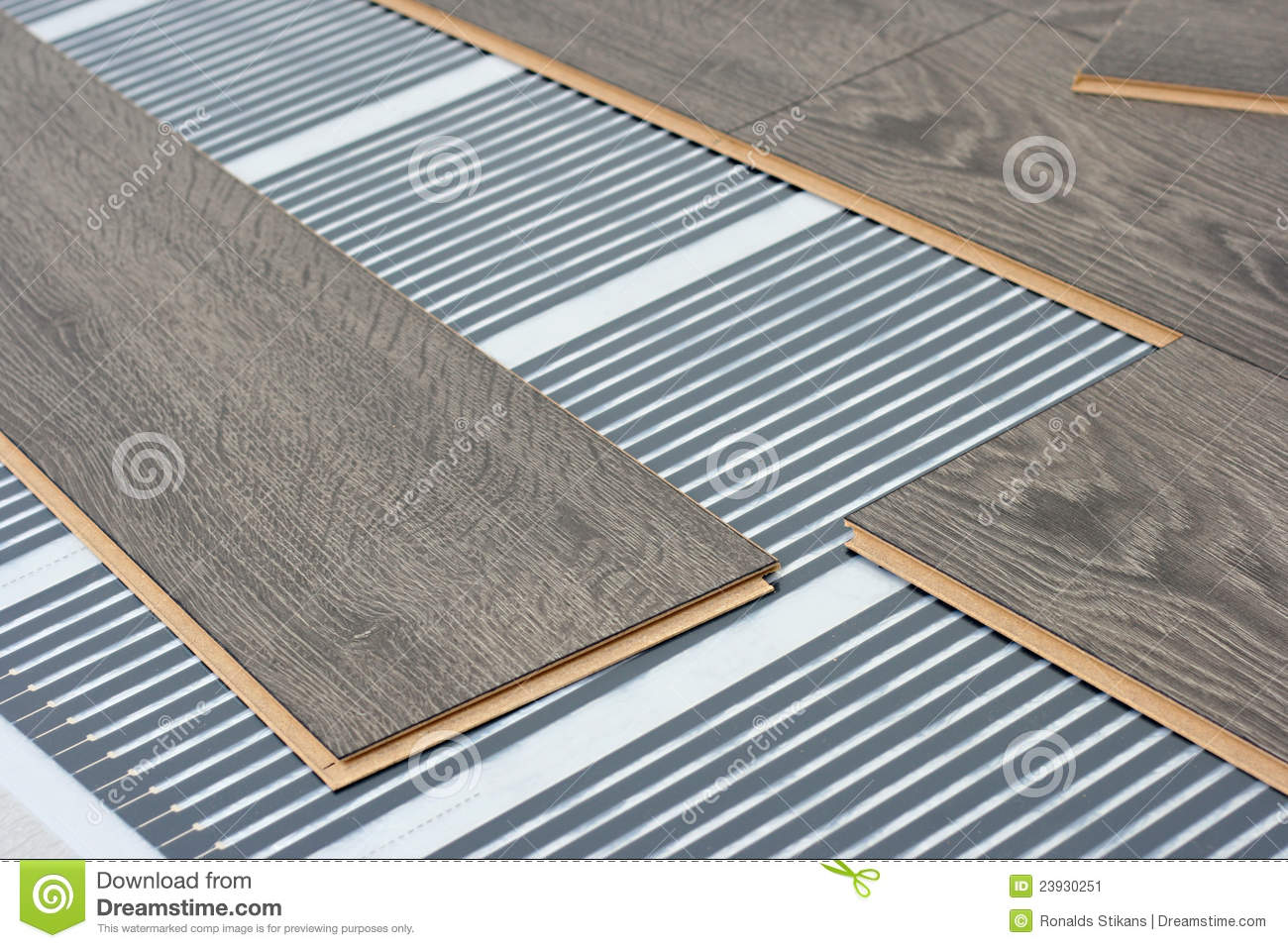 Infrared Floor Heating System Under Laminate Stock Image - Image of ...