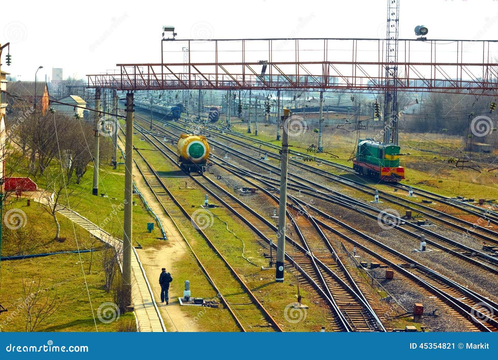 Infrastructure près de gare ferroviaire dans Khmelnytsky, Ukraine