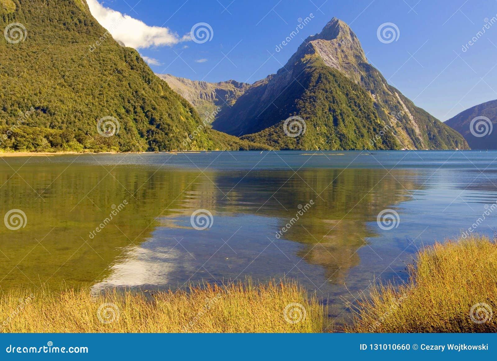 Infuła szczyt w Milford dźwięku, Fiordland park narodowy, Południowa wyspa, Nowa Zelandia