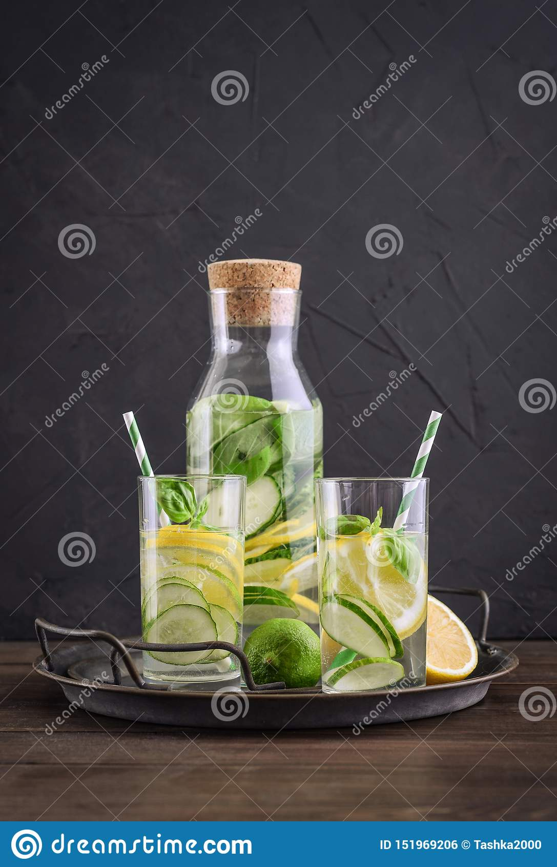 Infused water with cucumber, lemon, lime and basil