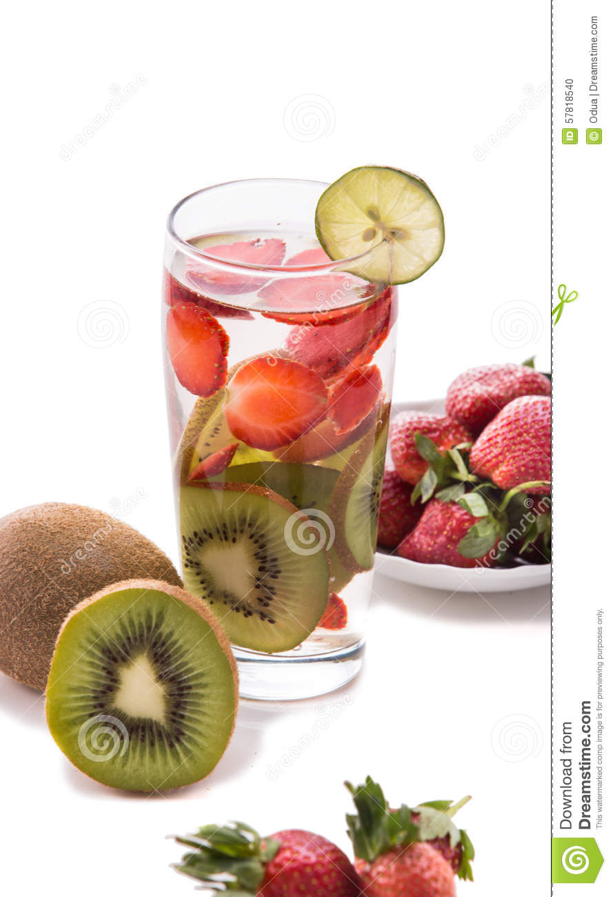 Infused Water Mix Of Strawberry And Kiwi Isolated Stock