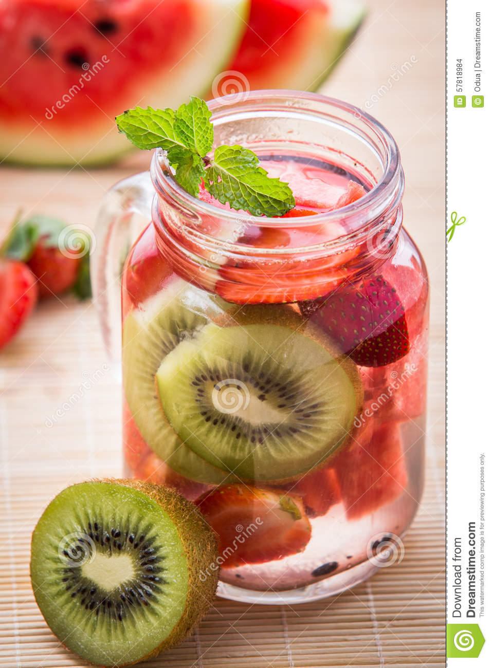 Super Infused Water Mix Of Strawberry, Watermelon And Kiwi Stock Photo  VL96