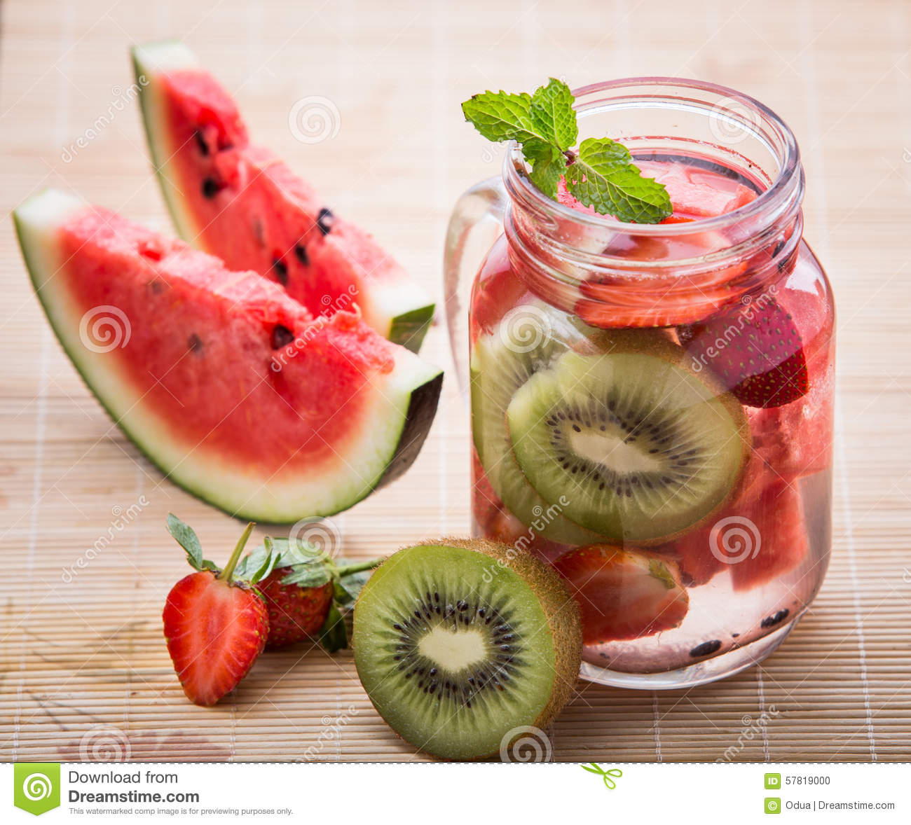 Super Infused Water Mix Of Strawberry, Watermelon And Kiwi Stock Photo  JF89