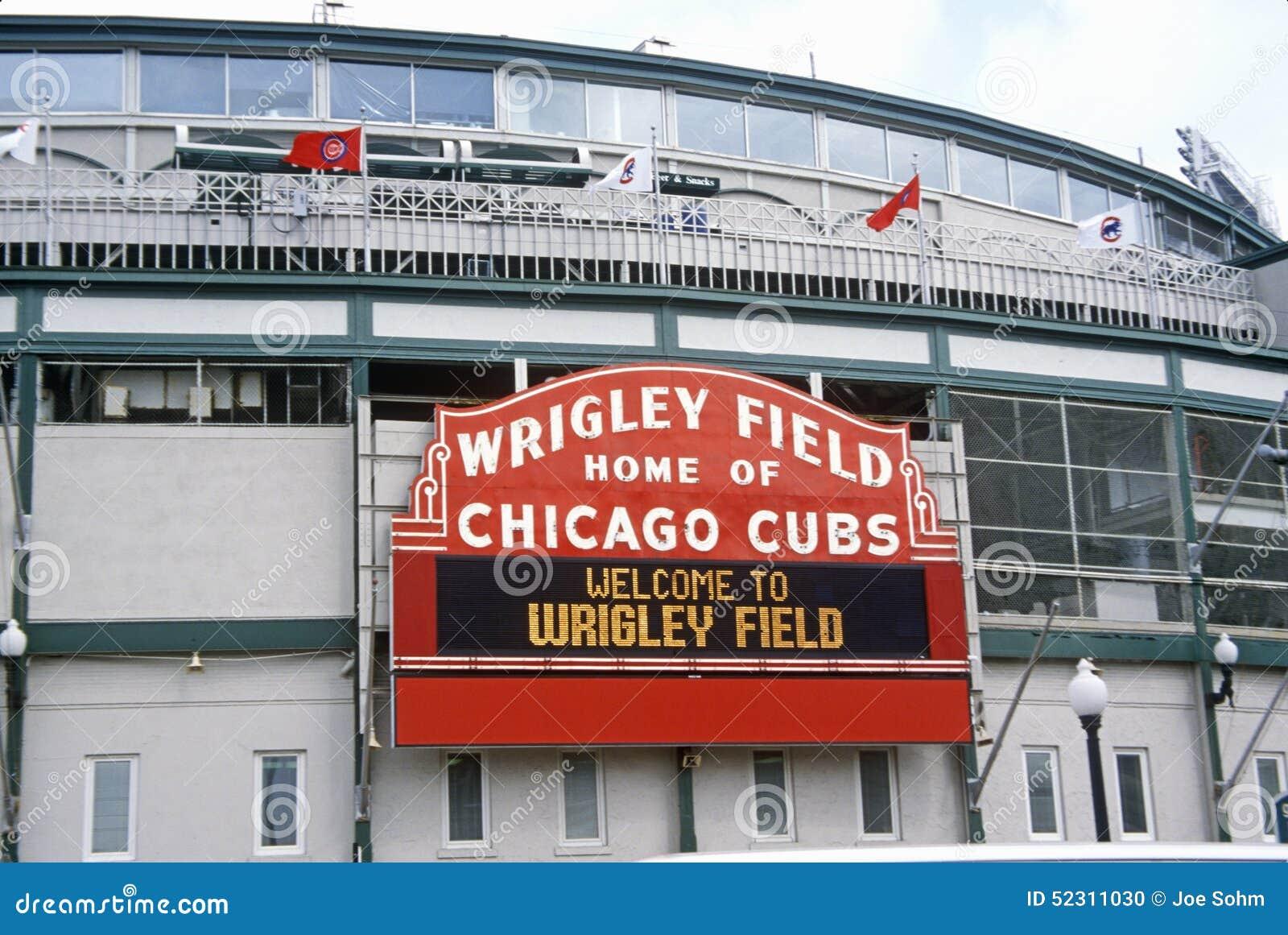 Ingång till det Wrigley fältet, hem av Chicago Cubs, Chicago, Illinois