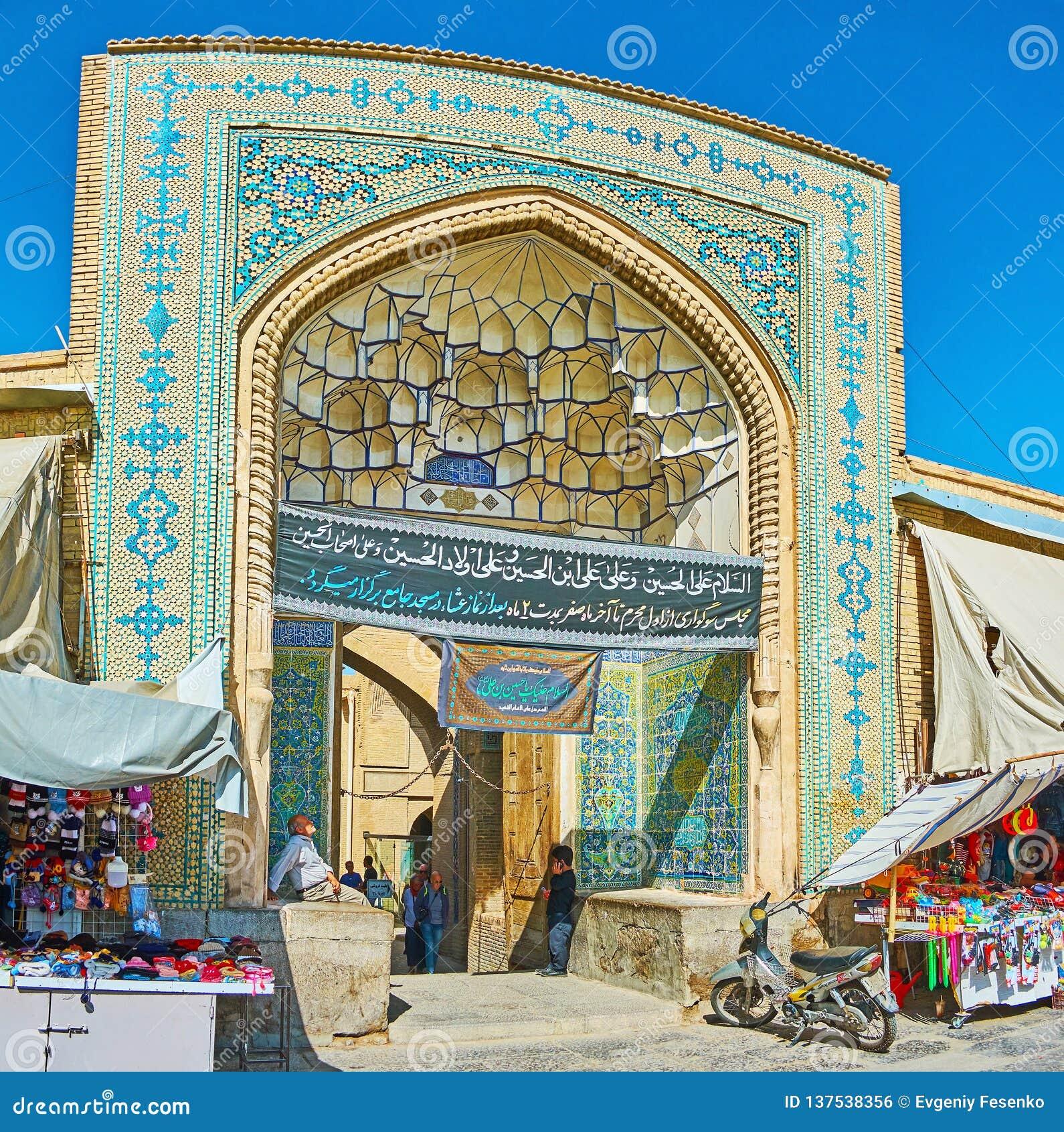 Ingångsportalen av den Jameh moskén, Isfahan, Iran