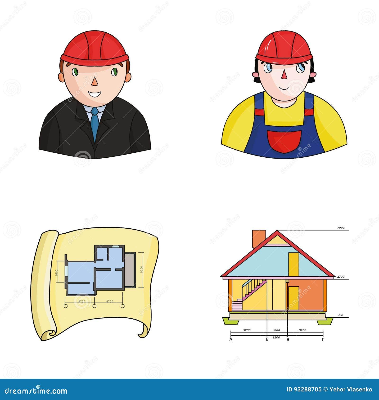Ingénieur constructeur travailleur de la construction plan de situation dessin technique de la maison les icônes réglées de collection darchitecture