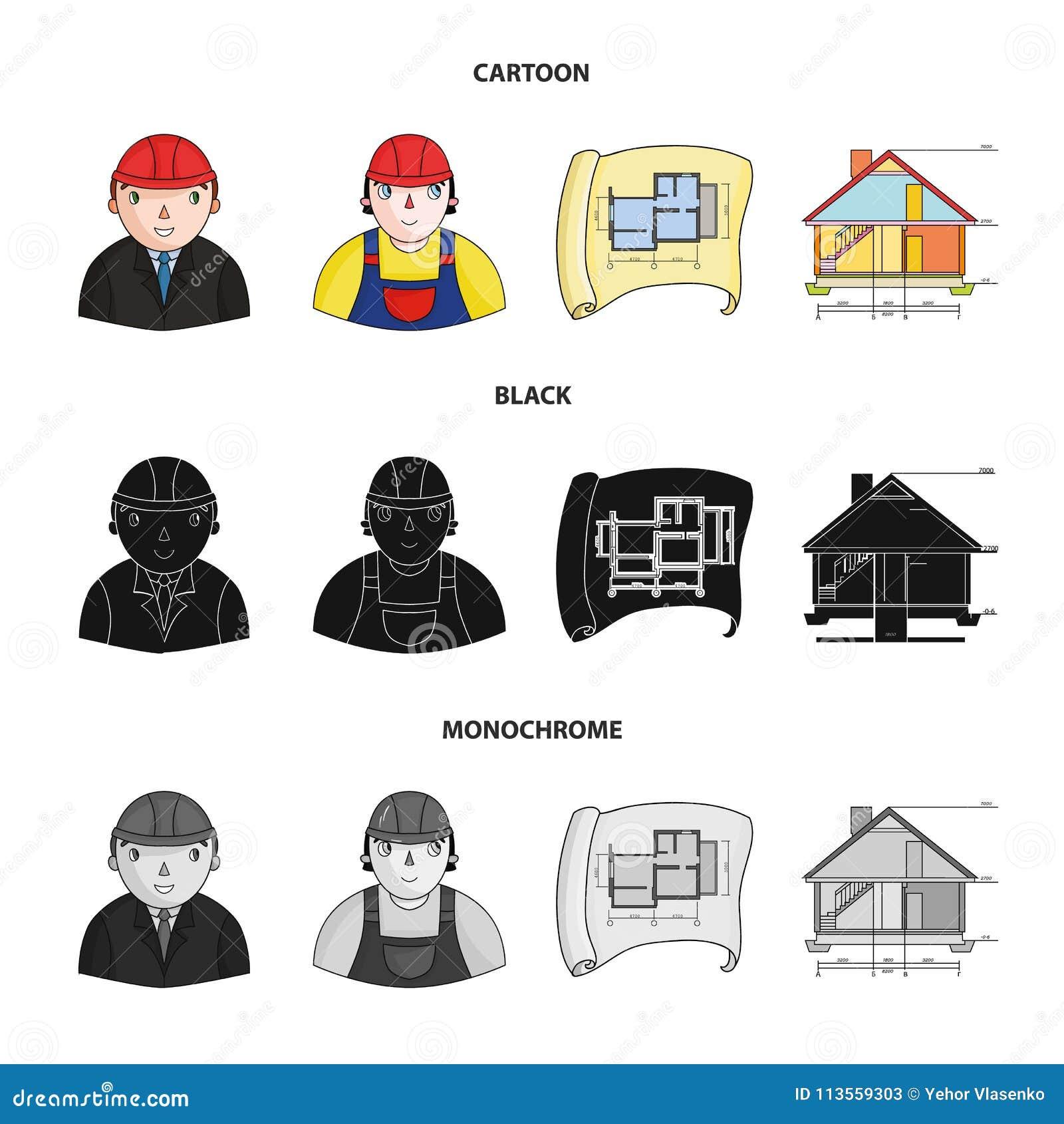 Ingénieur constructeur travailleur de la construction plan de situation dessin technique de la maison icônes réglées de collection darchitecture dans la