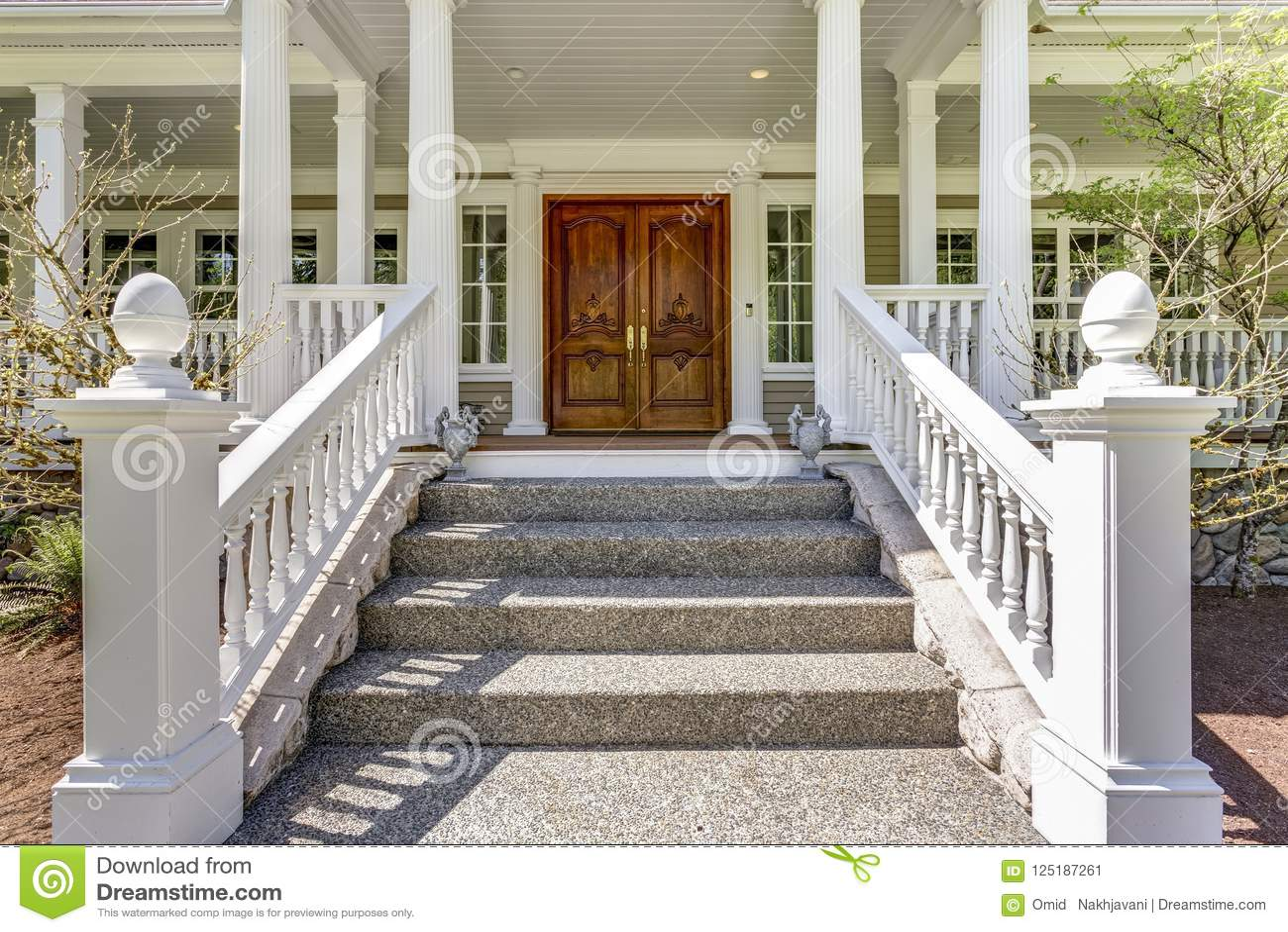 Ingang aan een huis van het luxeland met hoesdek