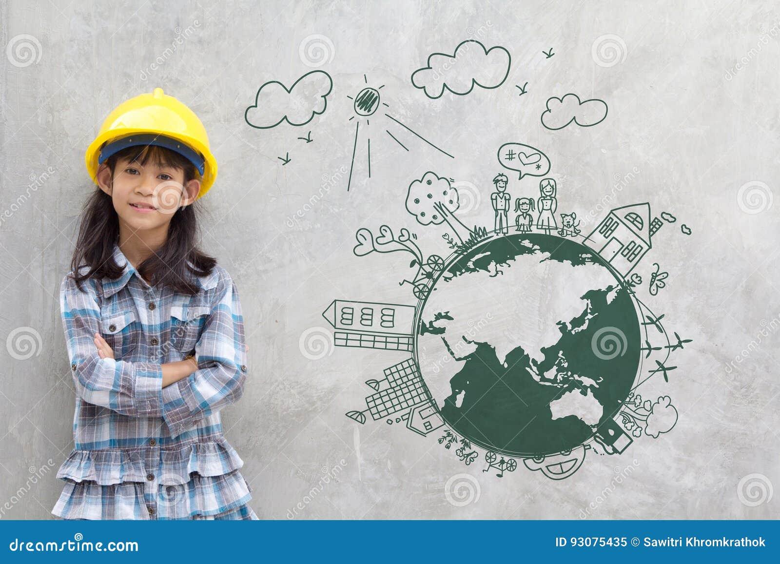 Ingegneria della bambina con l ambiente creativo del disegno