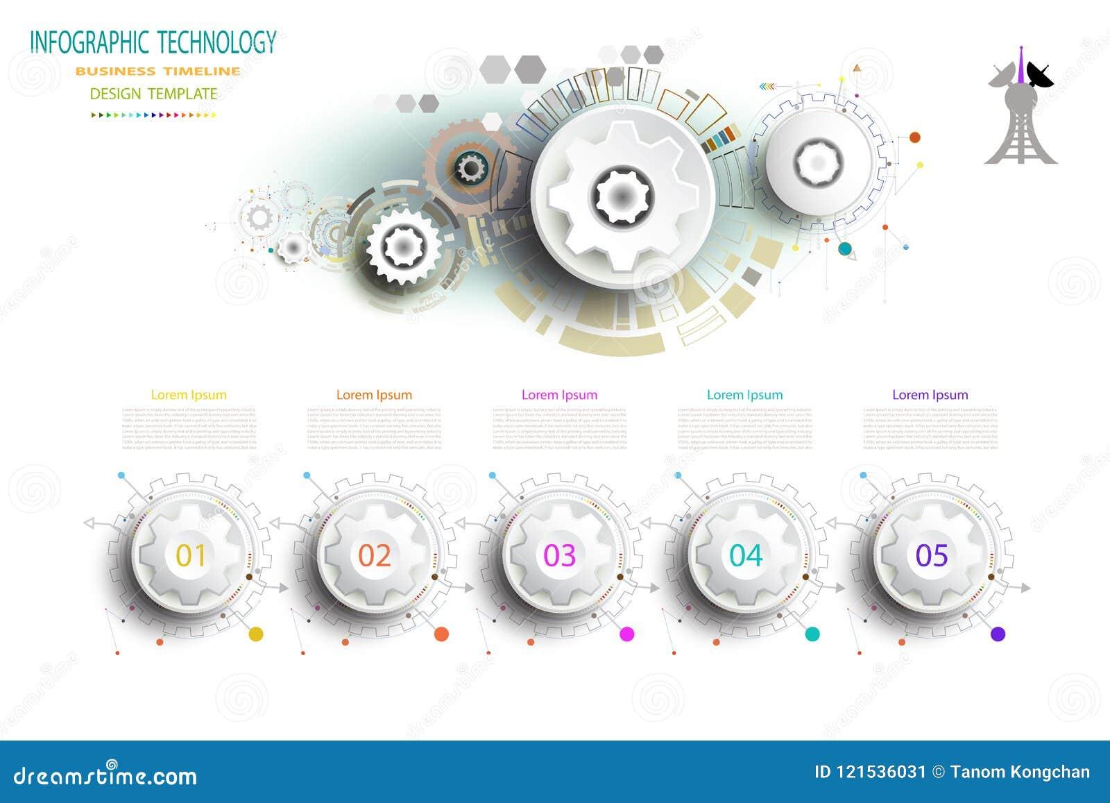 Ingegneria della ruota di ingranaggio di tecnologia del modello di Infographics sul circu