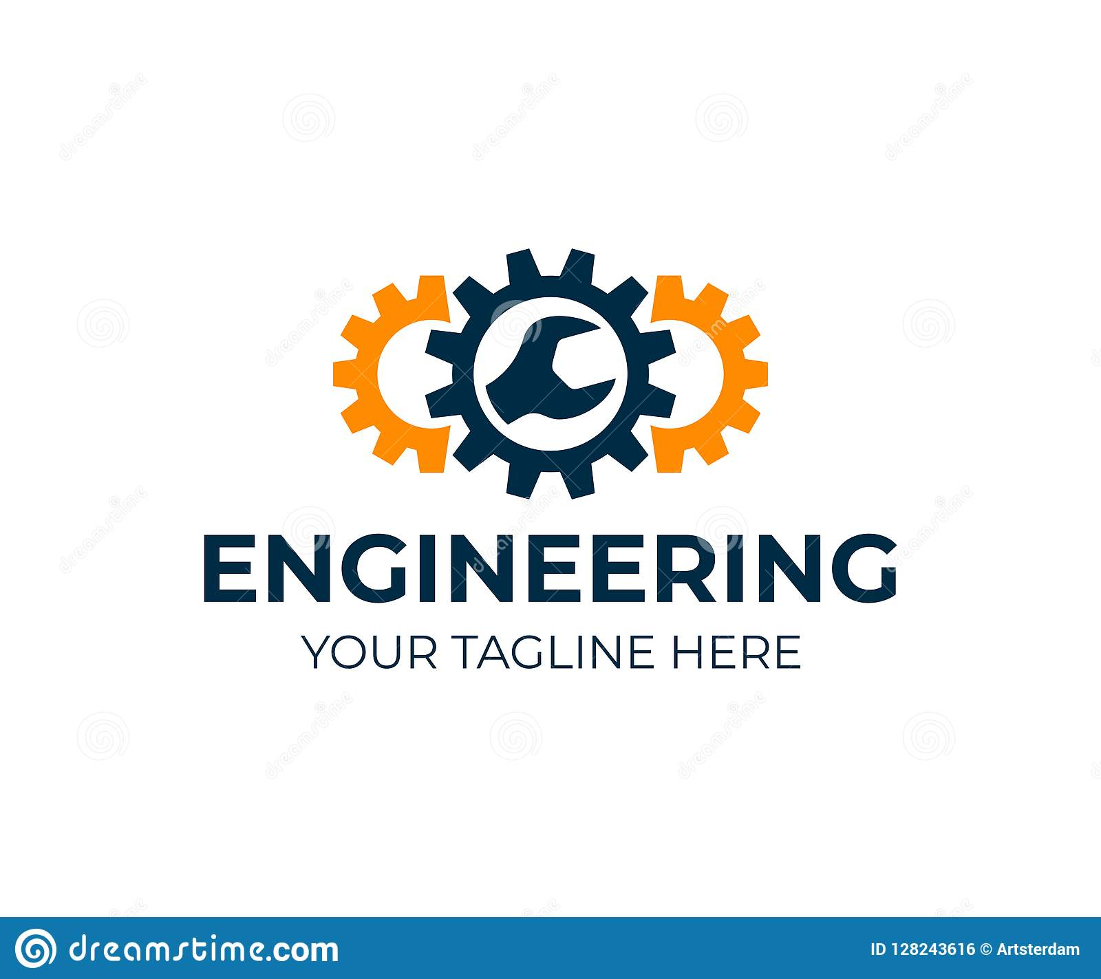 Ingegneria, ingranaggi e chiave, progettazione di logo Riparazione, servizio, industria, industriale e meccanico, progettazione d