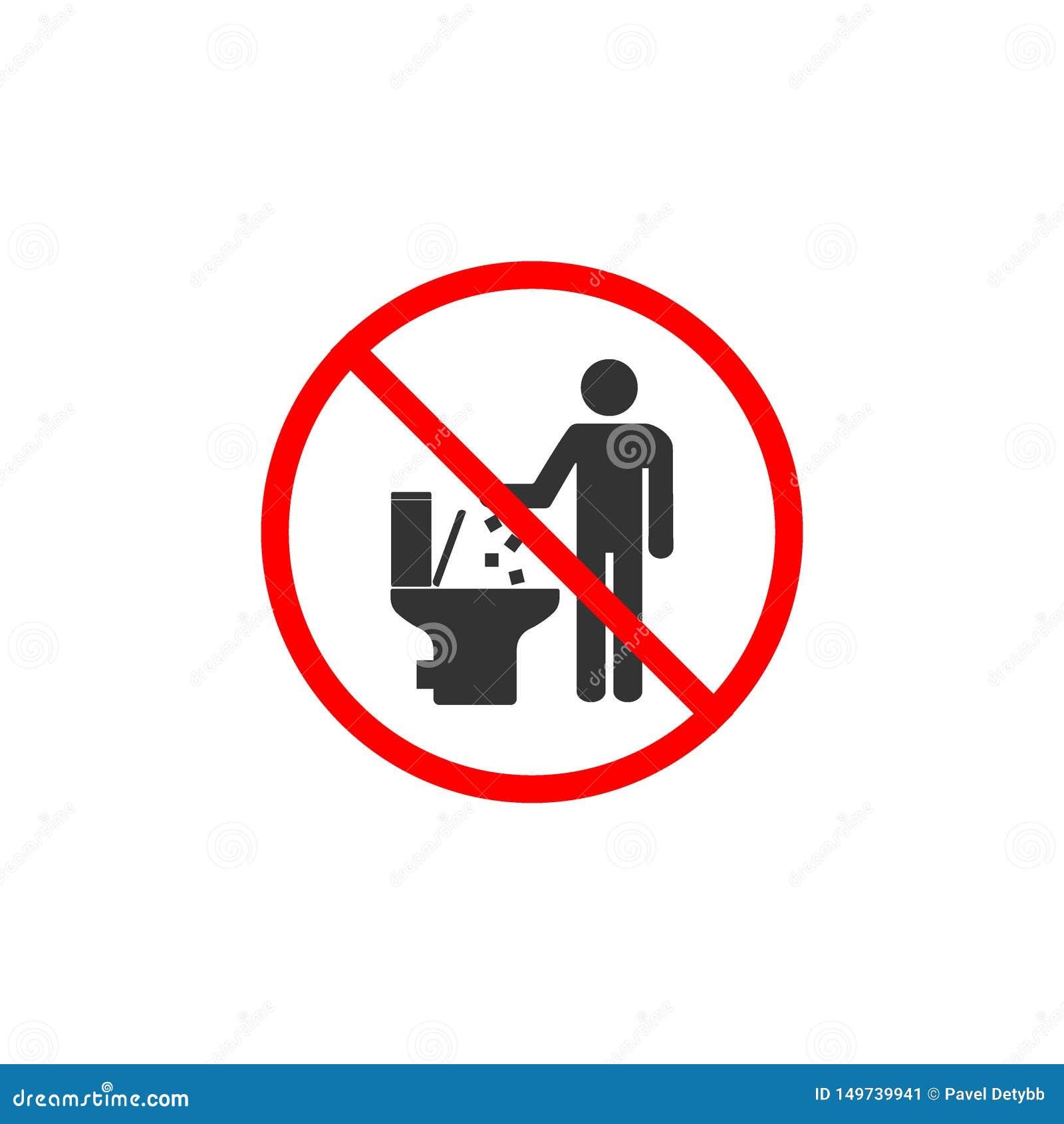 Ingen toalettsymbol som skräpar ner inte i toaletttecken Vektorillustration, l?genhetdesign
