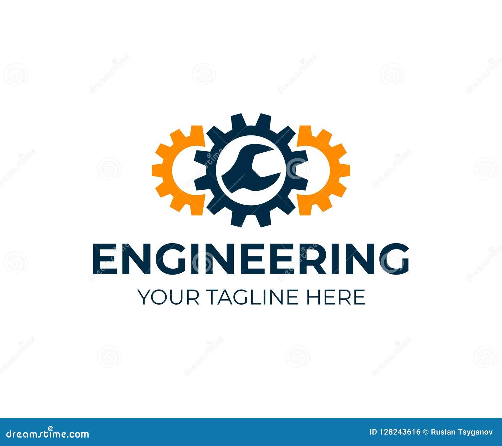 Ingeniería, engranajes y llave, diseño del logotipo Reparación, servicio, industria, industrial y mecánico, diseño del vector
