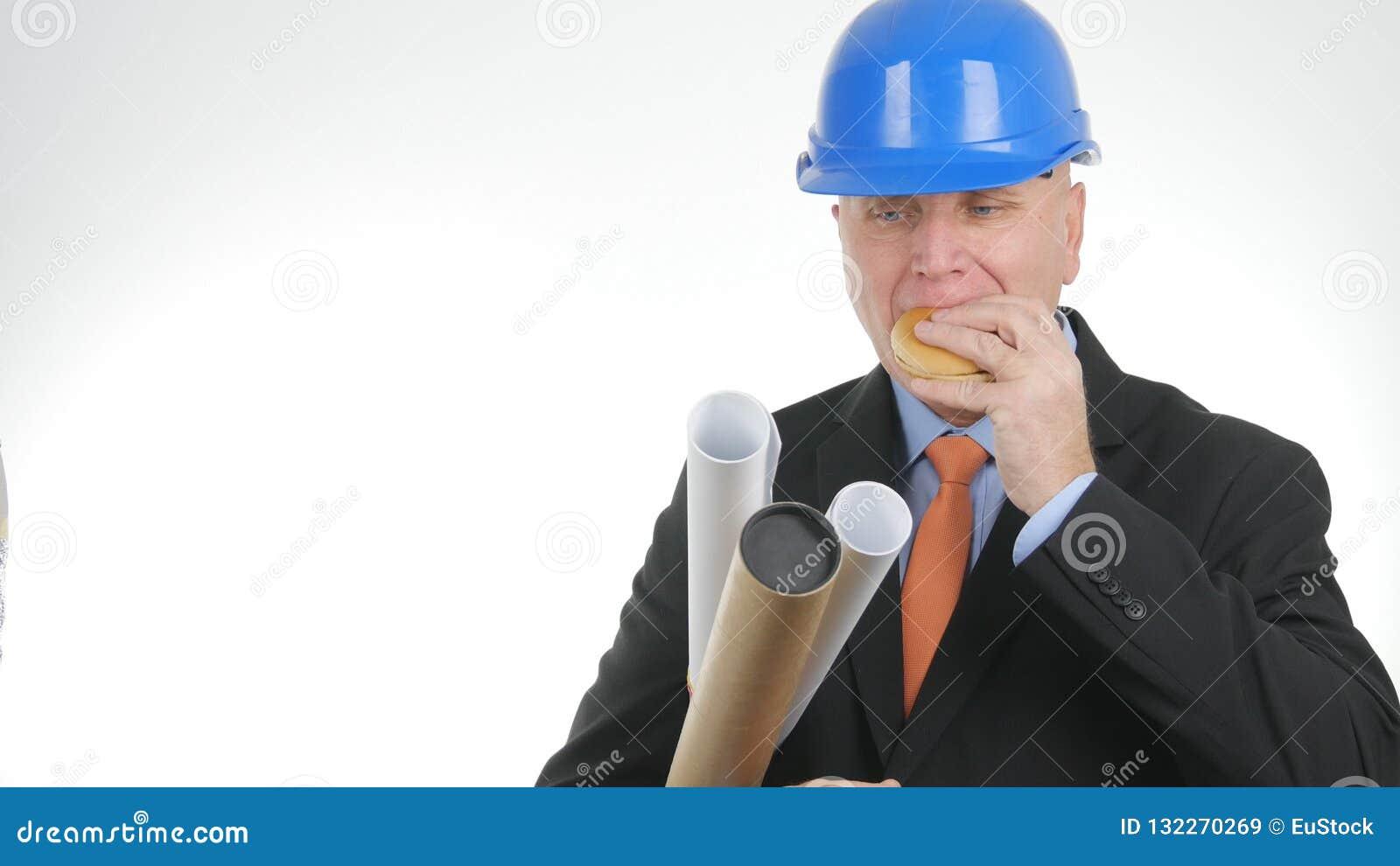 Ingeniero hambriento Image Eating Starved un bocado