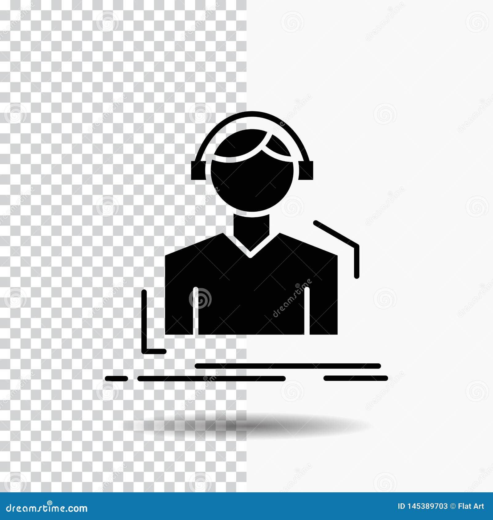 Ingenieur, Kopfhörer, hören, meloman, Musik Glyph-Ikone auf transparentem Hintergrund Schwarze Ikone