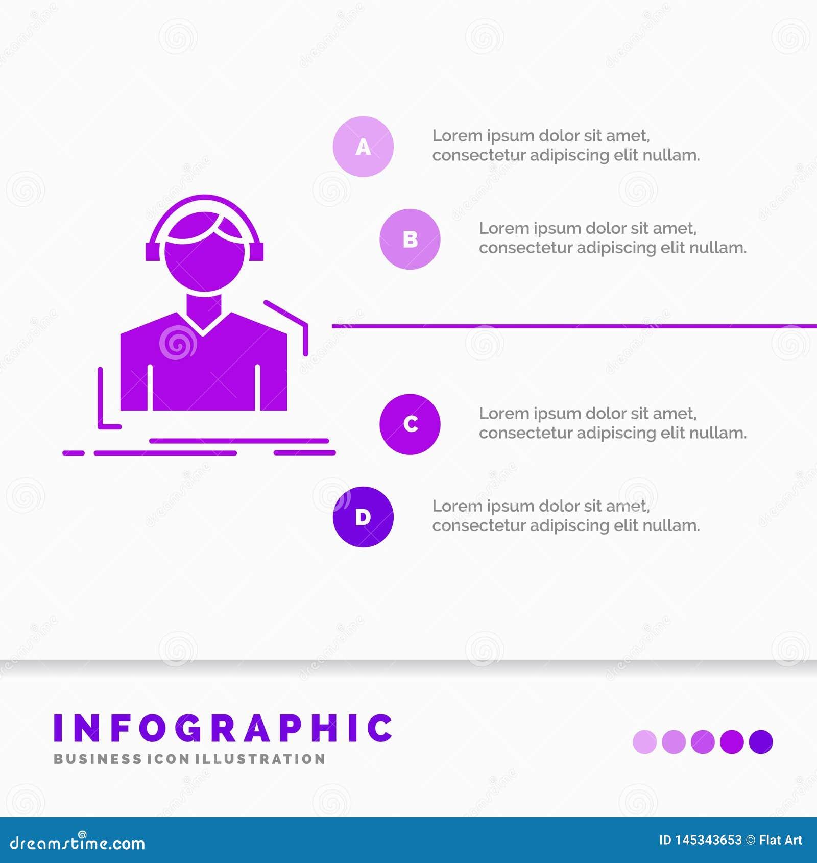 Ingenieur, Kopfh?rer, h?ren, meloman, Musik Infographics-Schablone auf Website und Darstellung Purpurrote Ikone des GLyph infogra