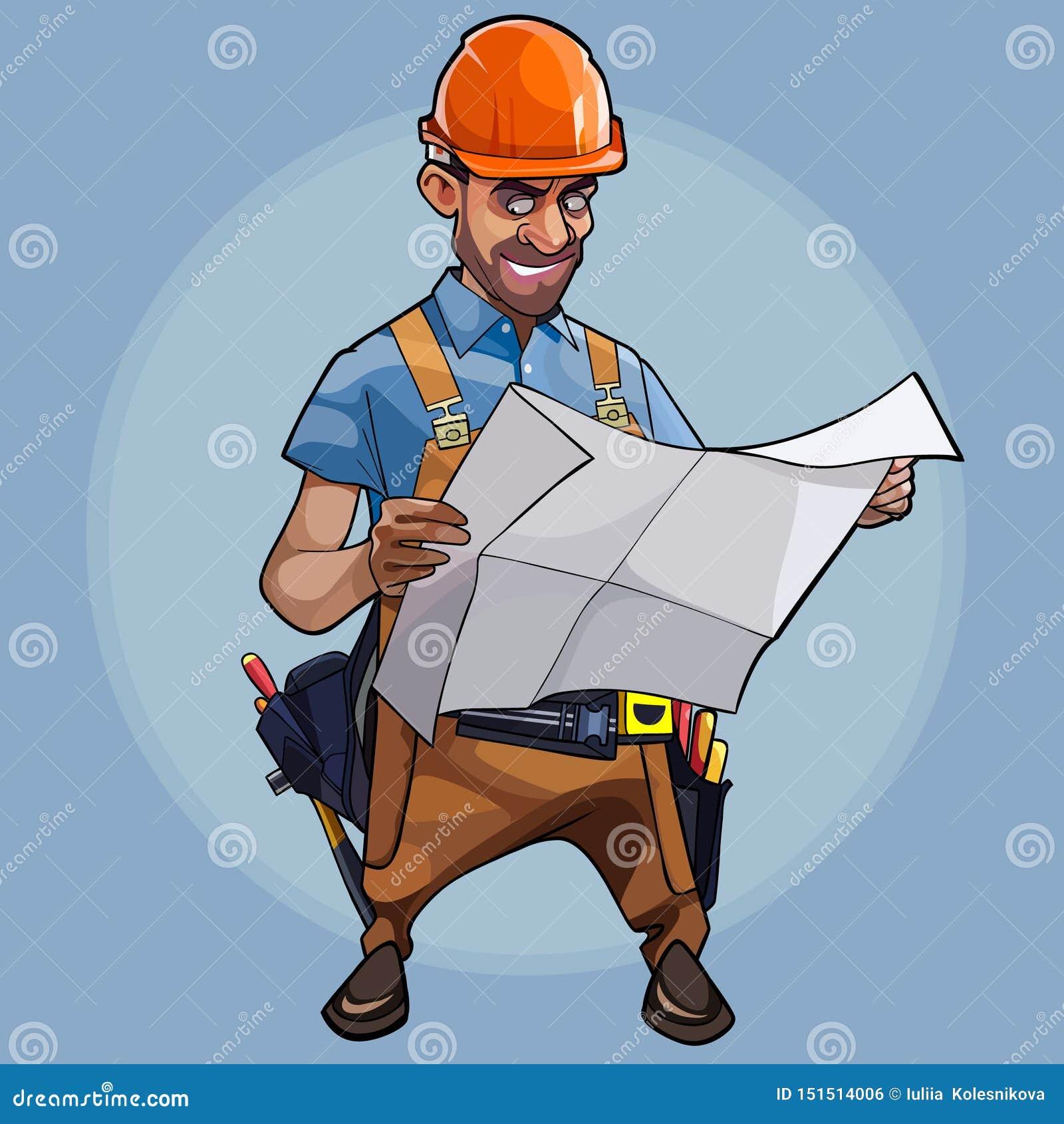 Ingenieur van de beeldverhaal onderzoekt de mannelijke bouw blauwdrukken op blauwe achtergrond