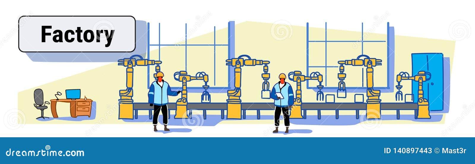 Ingenieurs in de eenvormige controlerende van de de transportband automatische lopende band van de fabrieksproductie industrie va