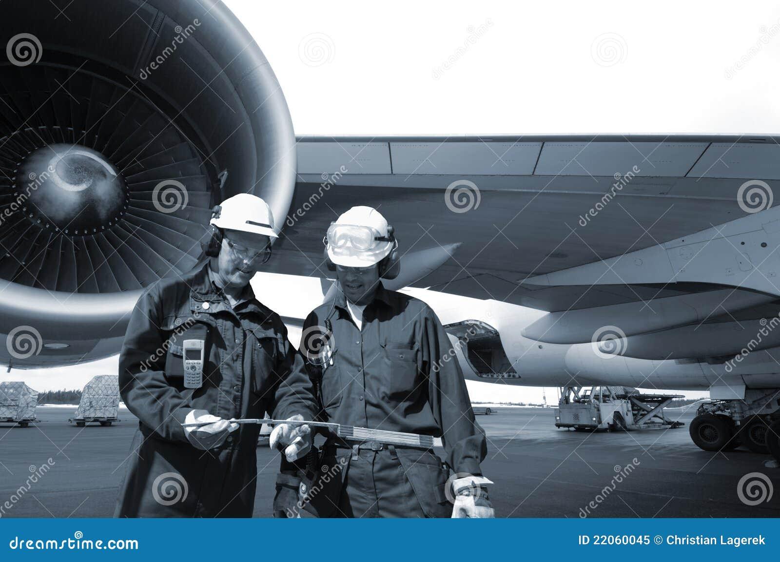 Ingenieurs en lijnvliegtuig