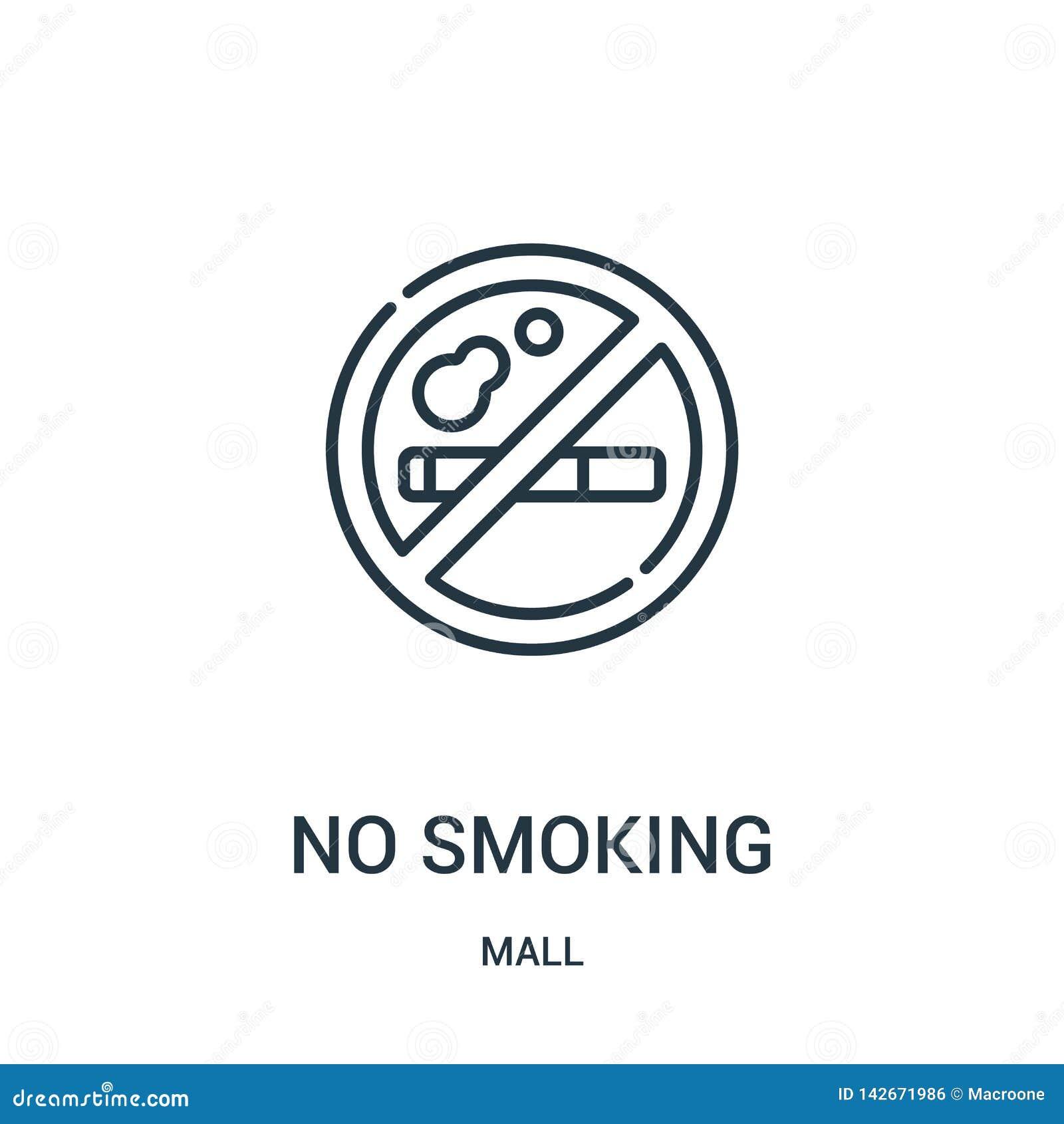 Inget - röka symbolsvektorn från galleriasamling Tunn linje inget - röka illustrationen för översiktssymbolsvektor Linjärt symbol