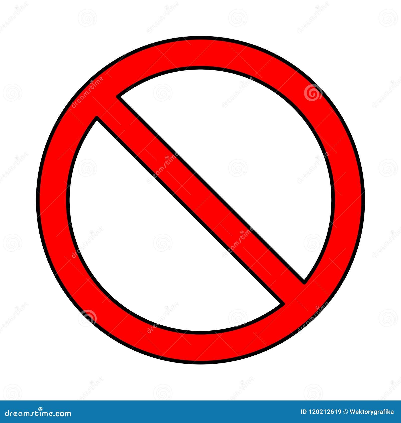 Inget tecken, förbudsymboldesign som isoleras på vit bakgrund