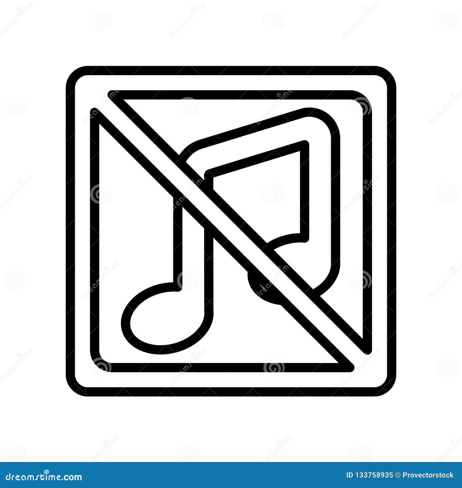 Inget tecken och symbol för musiksymbolsvektor som isoleras på vit backgroun