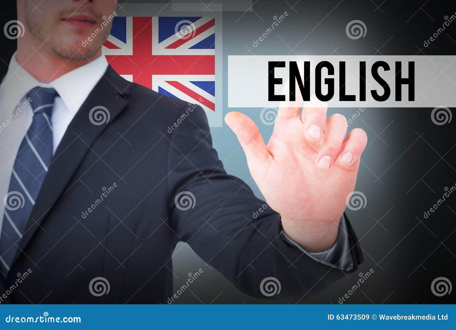 Inglés contra fondo azul con la ilustración